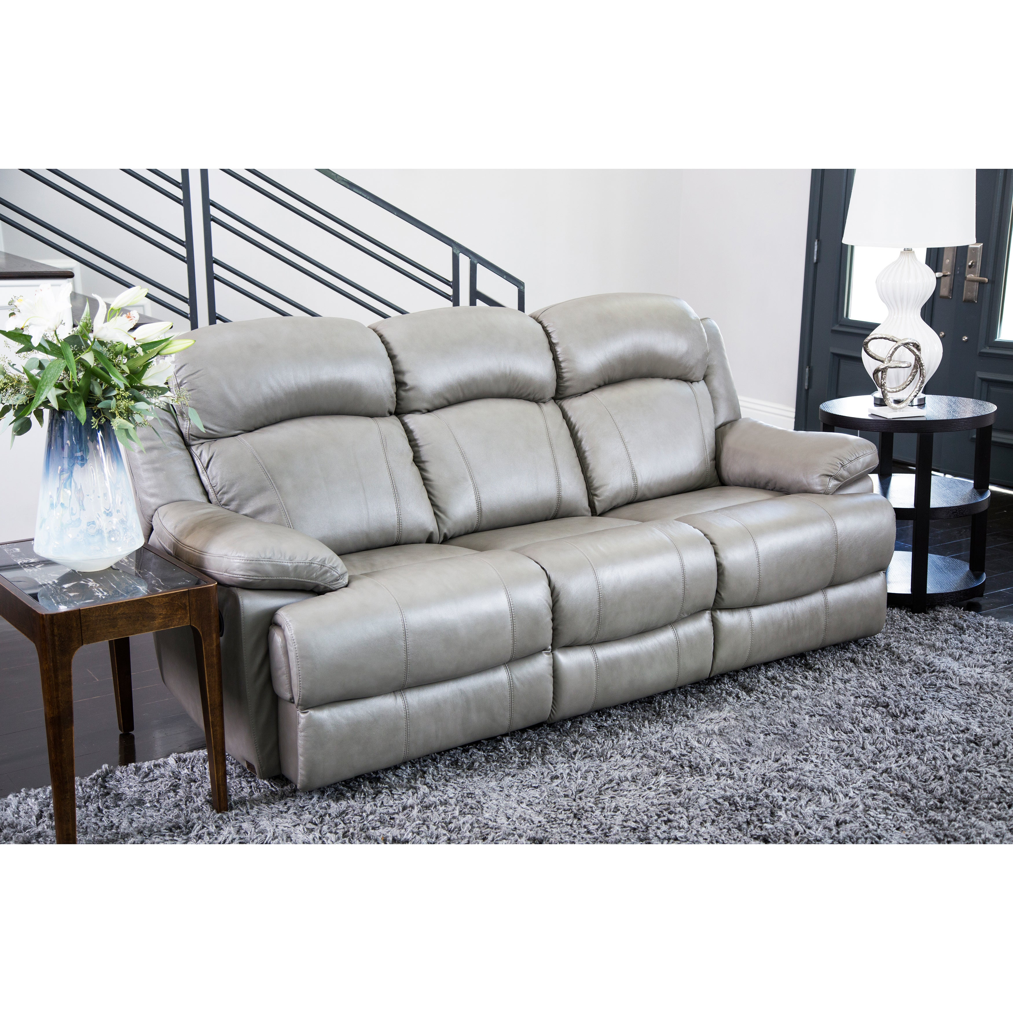 Abbyson Clarence Top Grain Leather Reclining 2 Piece Living Room Set ...