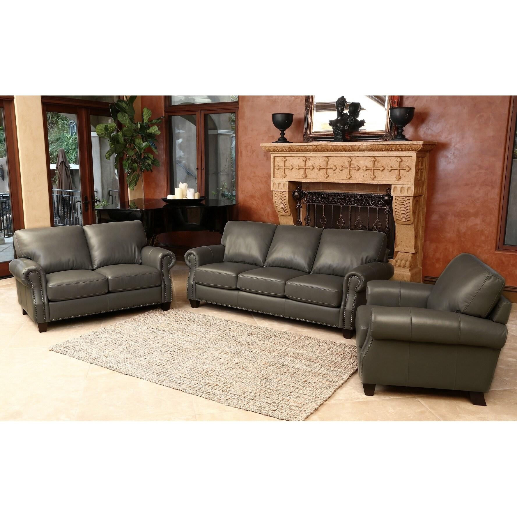 Abbyson Landon Top Grain Leather 3 Piece Living Room Set - Free ...