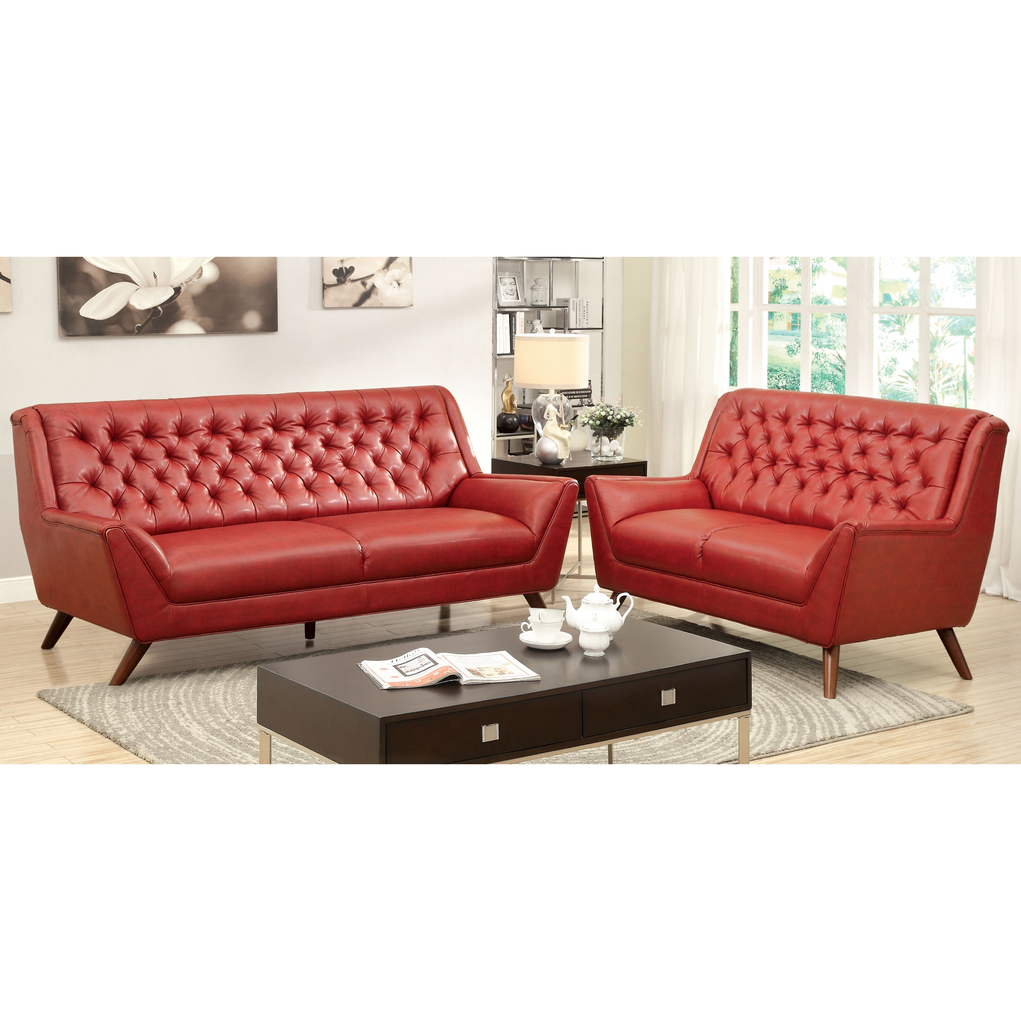 Furniture Of America Valentino 3 Piece Mid Century Modern Bonded Leather  Sofa Set   Free Shipping Today   Overstock.com   16933888