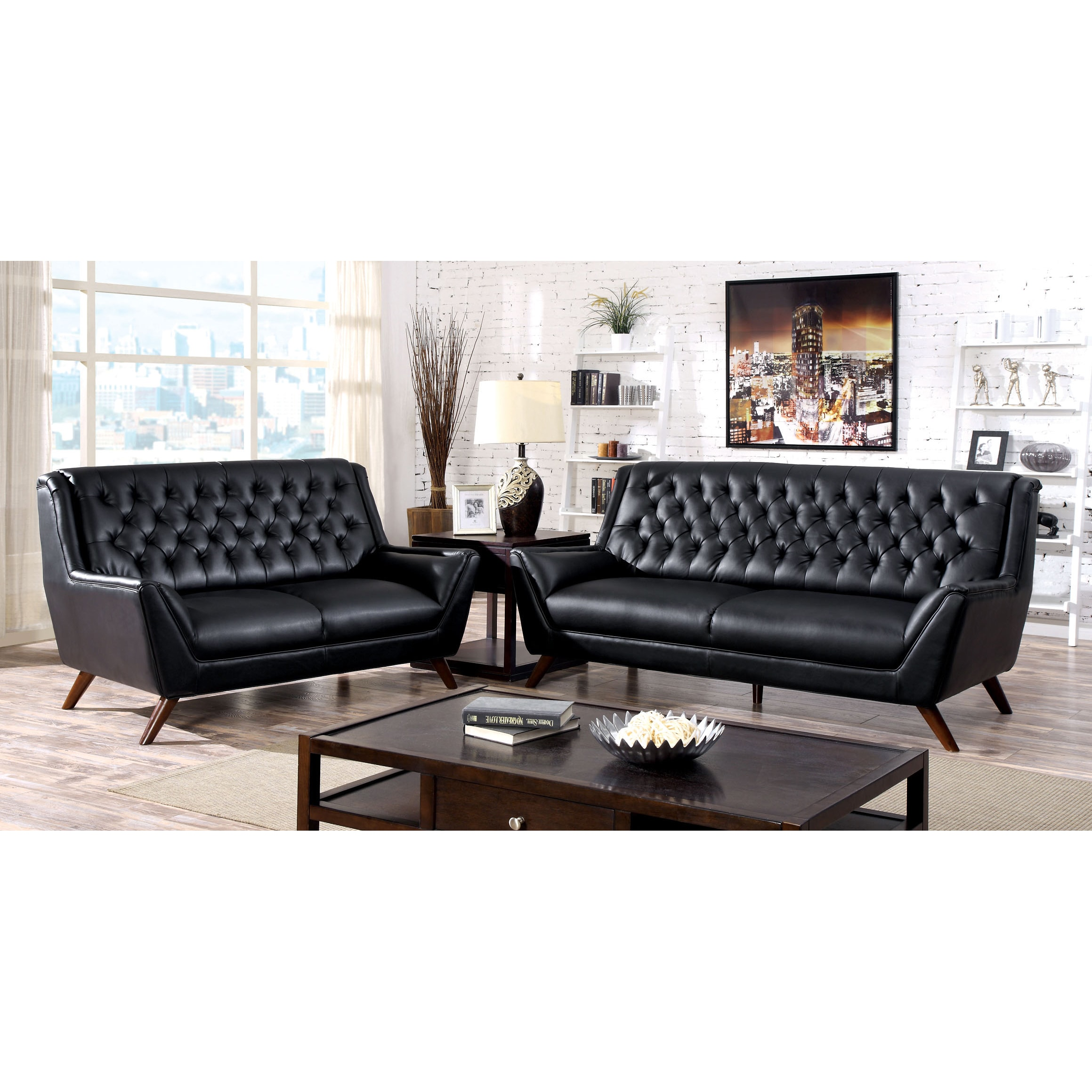 Shop Furniture Of America Valentino Mid Century Modern Bonded Leather Sofa    On Sale   Free Shipping Today   Overstock.com   9762574