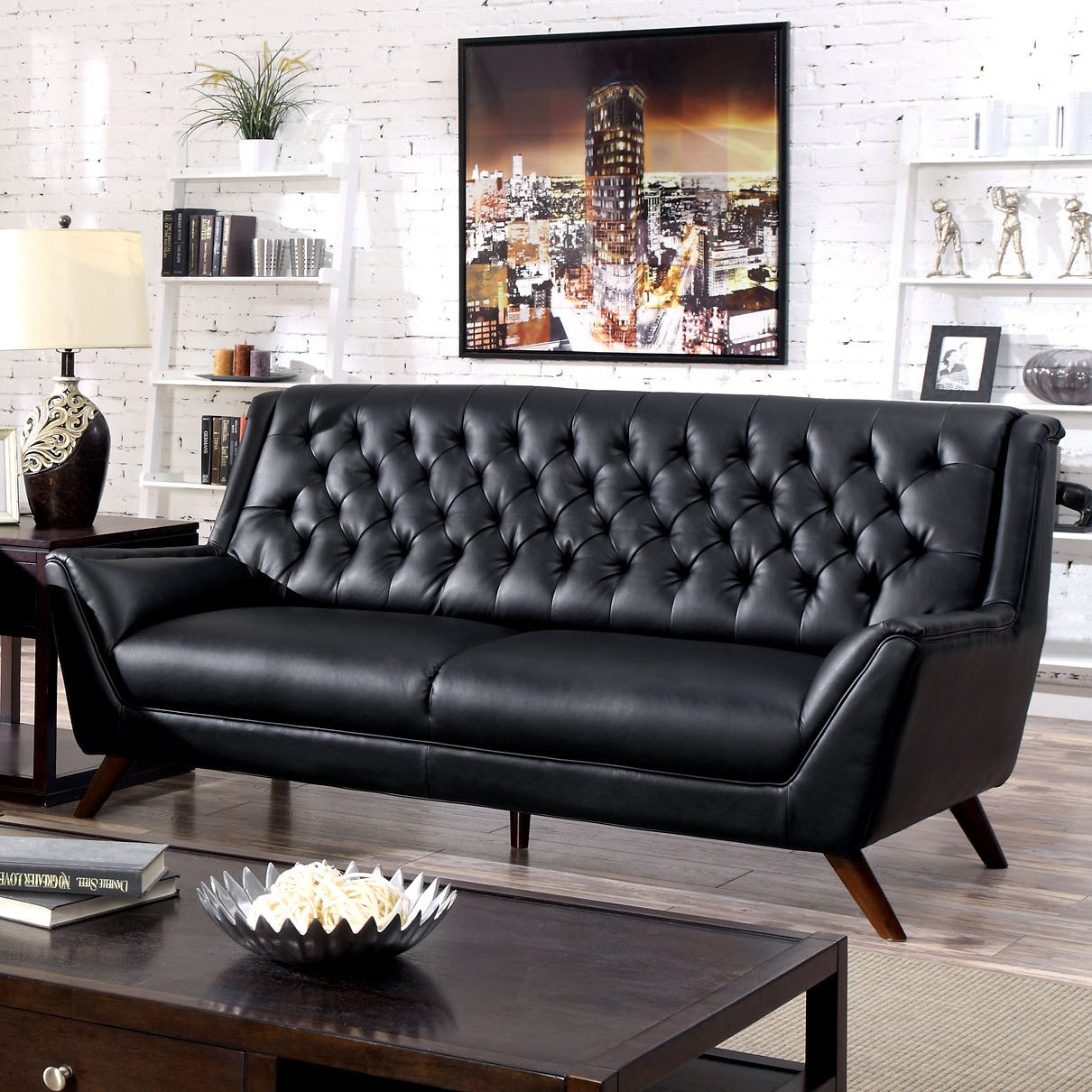 Furniture Of America Valentino Mid Century Modern Bonded Leather Sofa Free Shipping Today 9762574