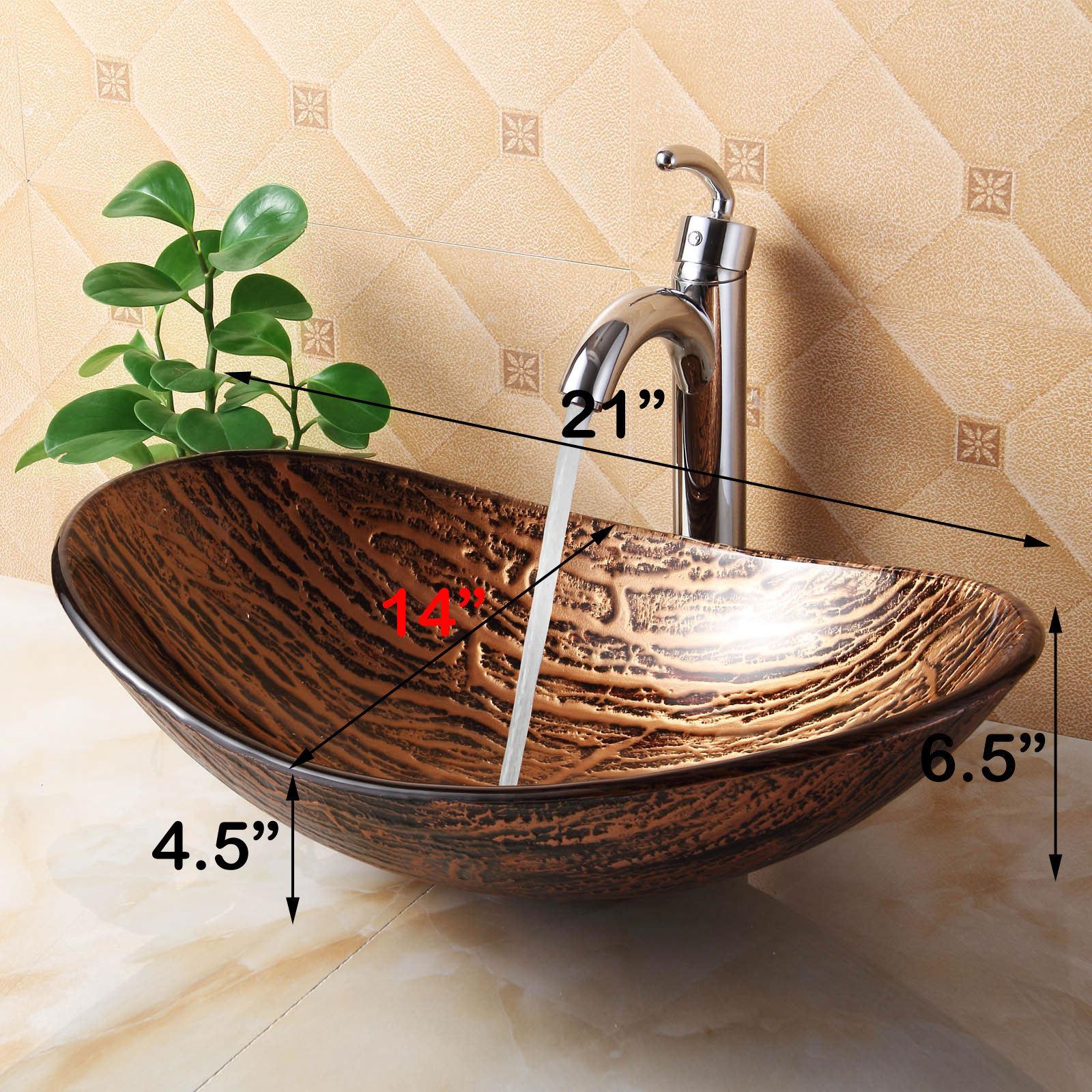 Elite 1212+882002 Unique Oval Bathroom Tempered Boat Shape Glass ...