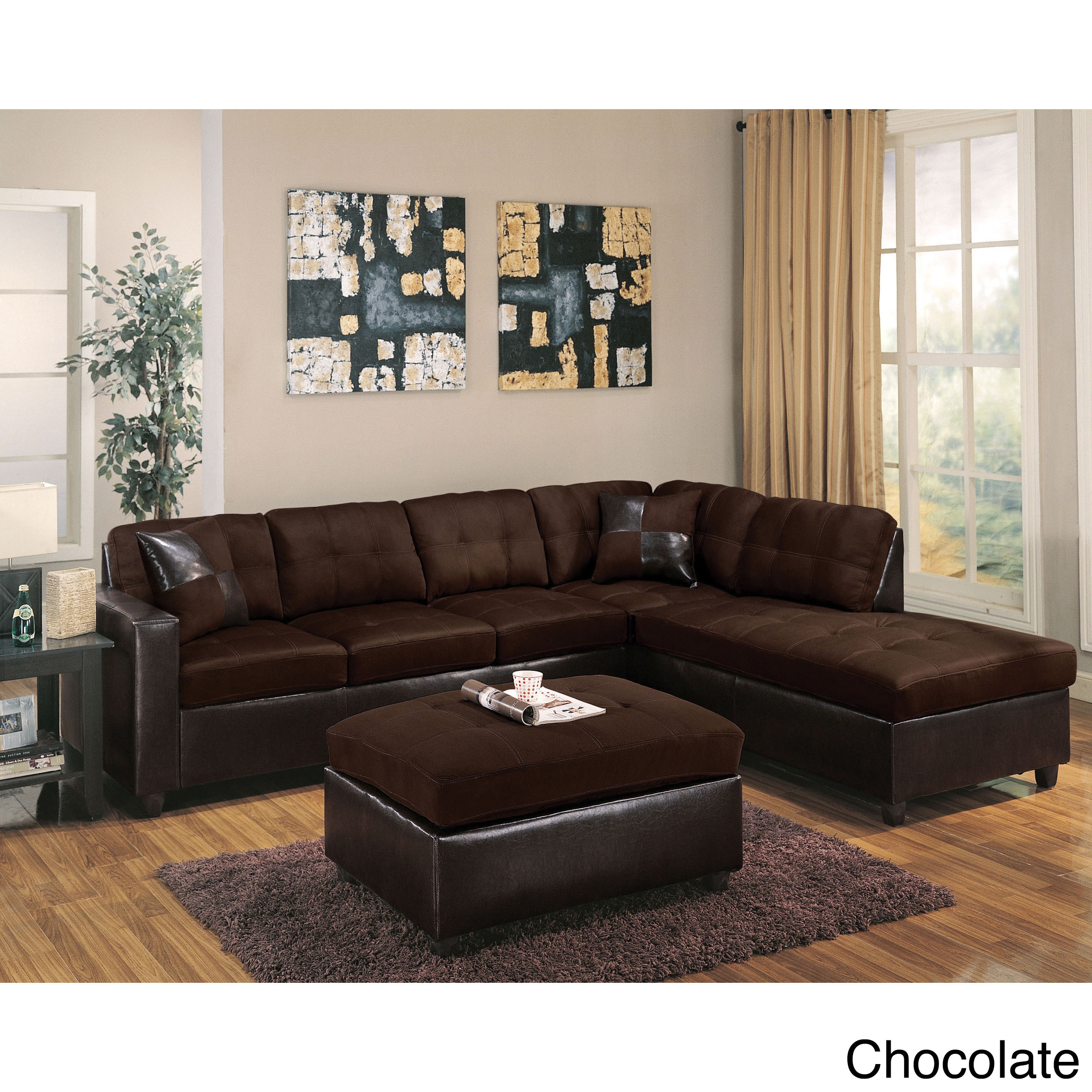 Milano Reversible Sectional Sofa In Chocolate Easy Rider And Espresso Pu Free Shipping Today 16933927