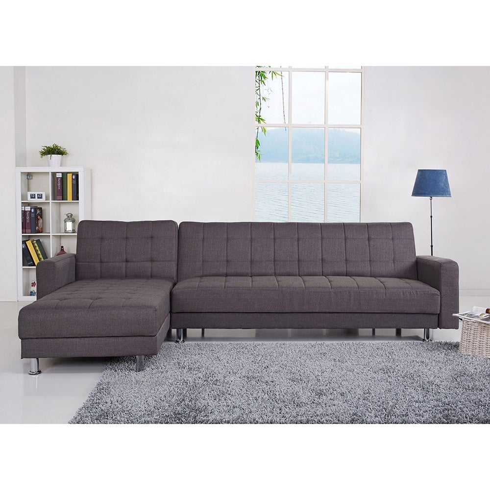 Shop Frankfort Gray Convertible Sectional Sofa Bed Free Shipping