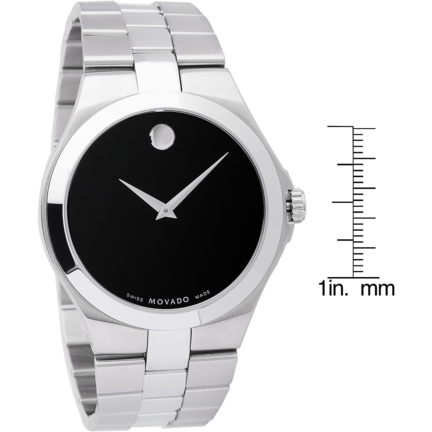 jewelry steel mens s black stainless overstock movado men shipping today watch product watches dial free