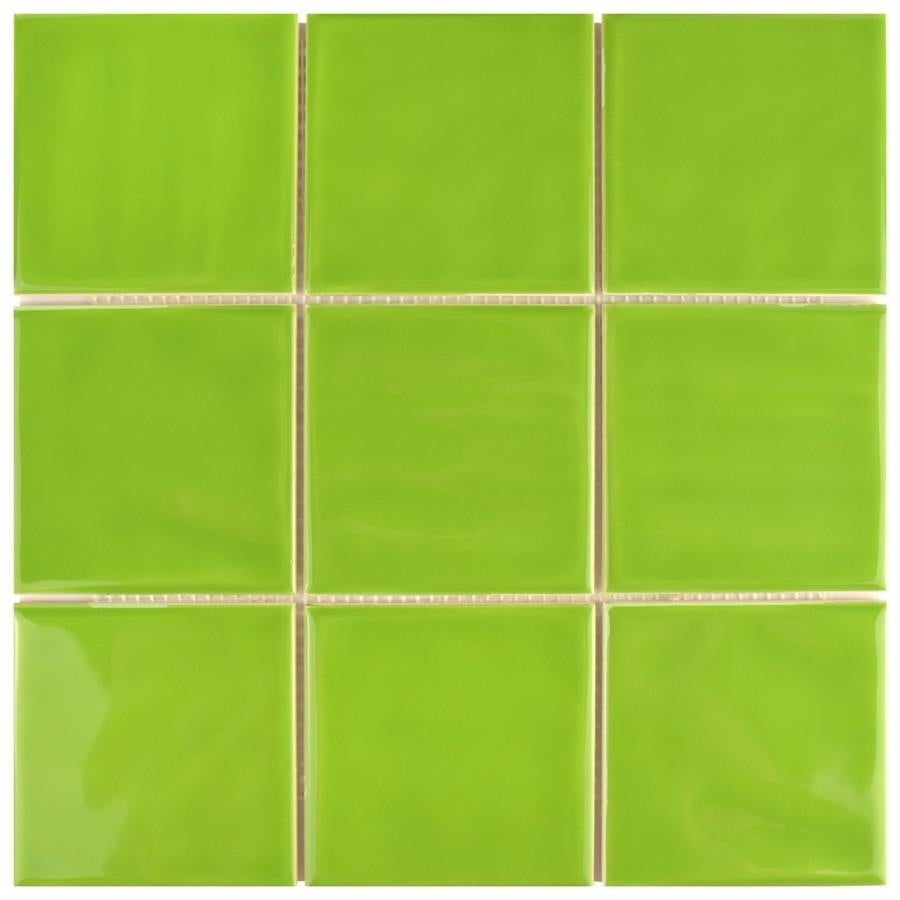 Shop SomerTile Xinch Curve Square Green Kiwi Ceramic Wall - 3 inch square ceramic tiles
