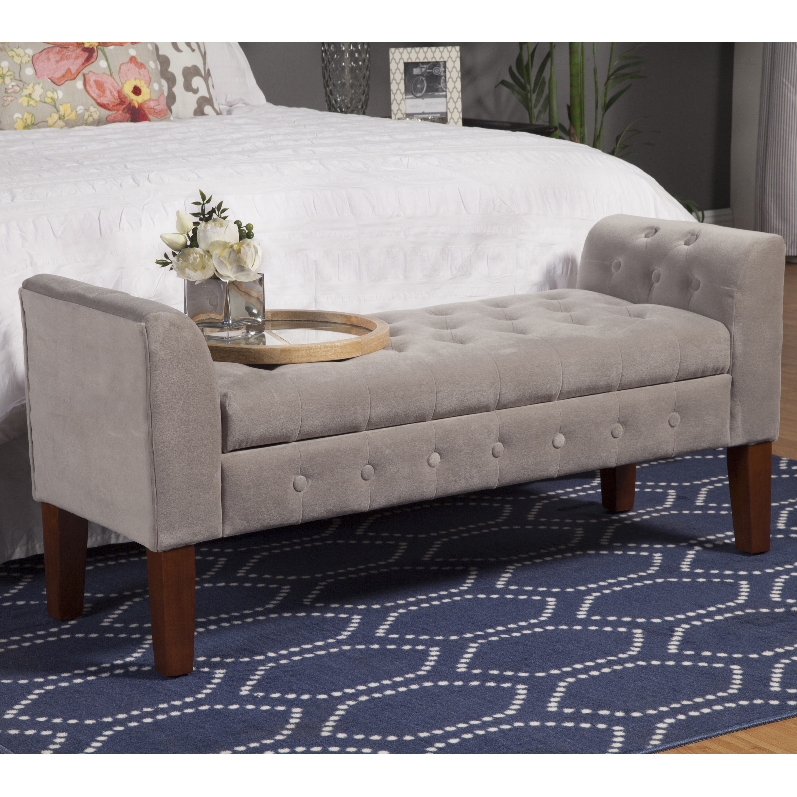 Clay Alder Home Wabasha Dove Grey Velvet Settee Style Storage Bench On Free Shipping Today 9766102