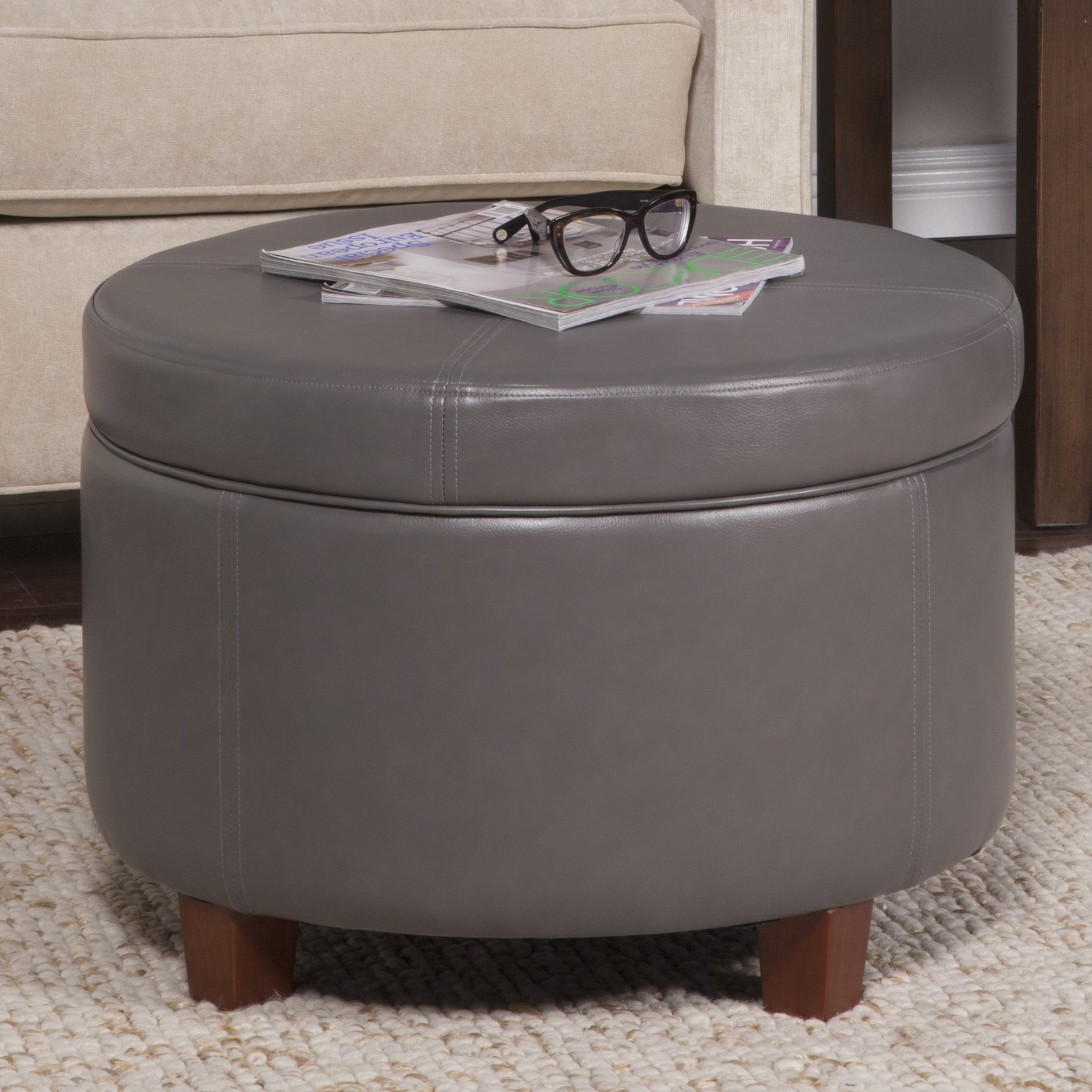 Shop HomePop Charcoal Gray Leatherette Round Storage Ottoman   On Sale    Free Shipping Today   Overstock.com   9766110