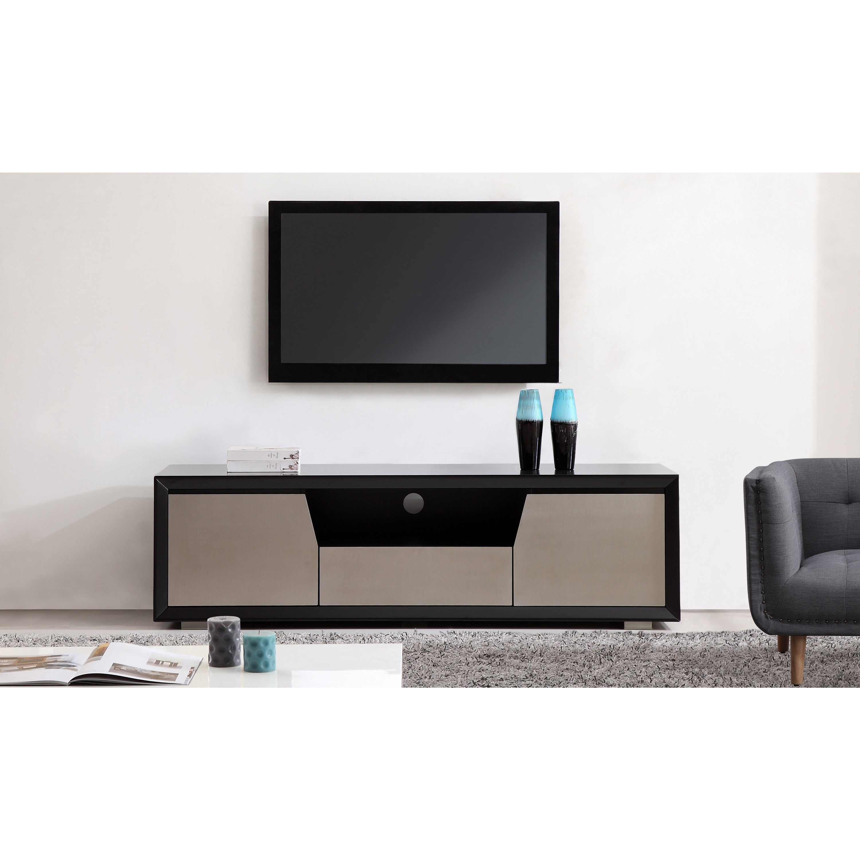 Element Matte Black Stainless Steel Tv Stand On Free Shipping Today 9766241