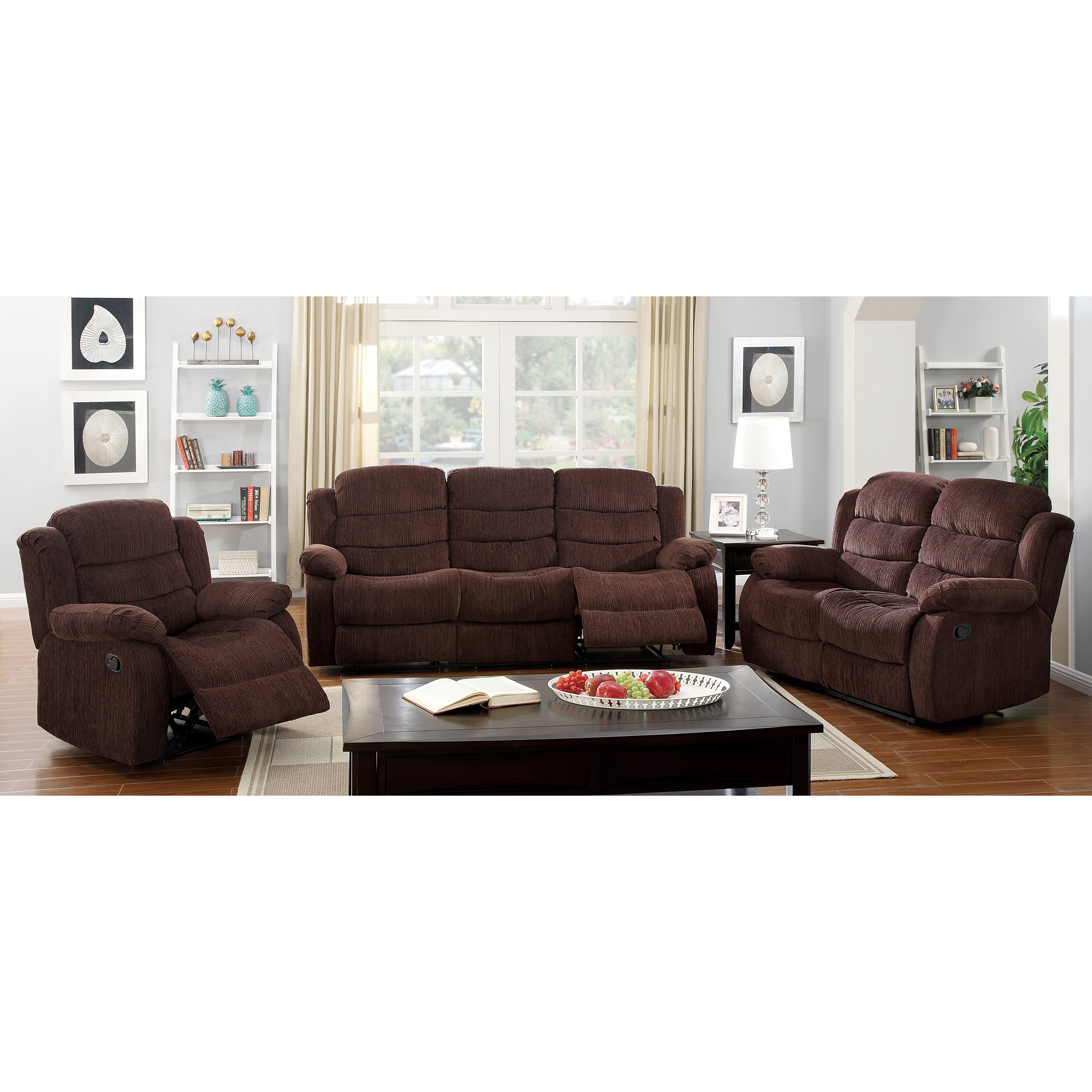 Shop Furniture of America Aurese Chenille Recliner - On Sale - Free ...