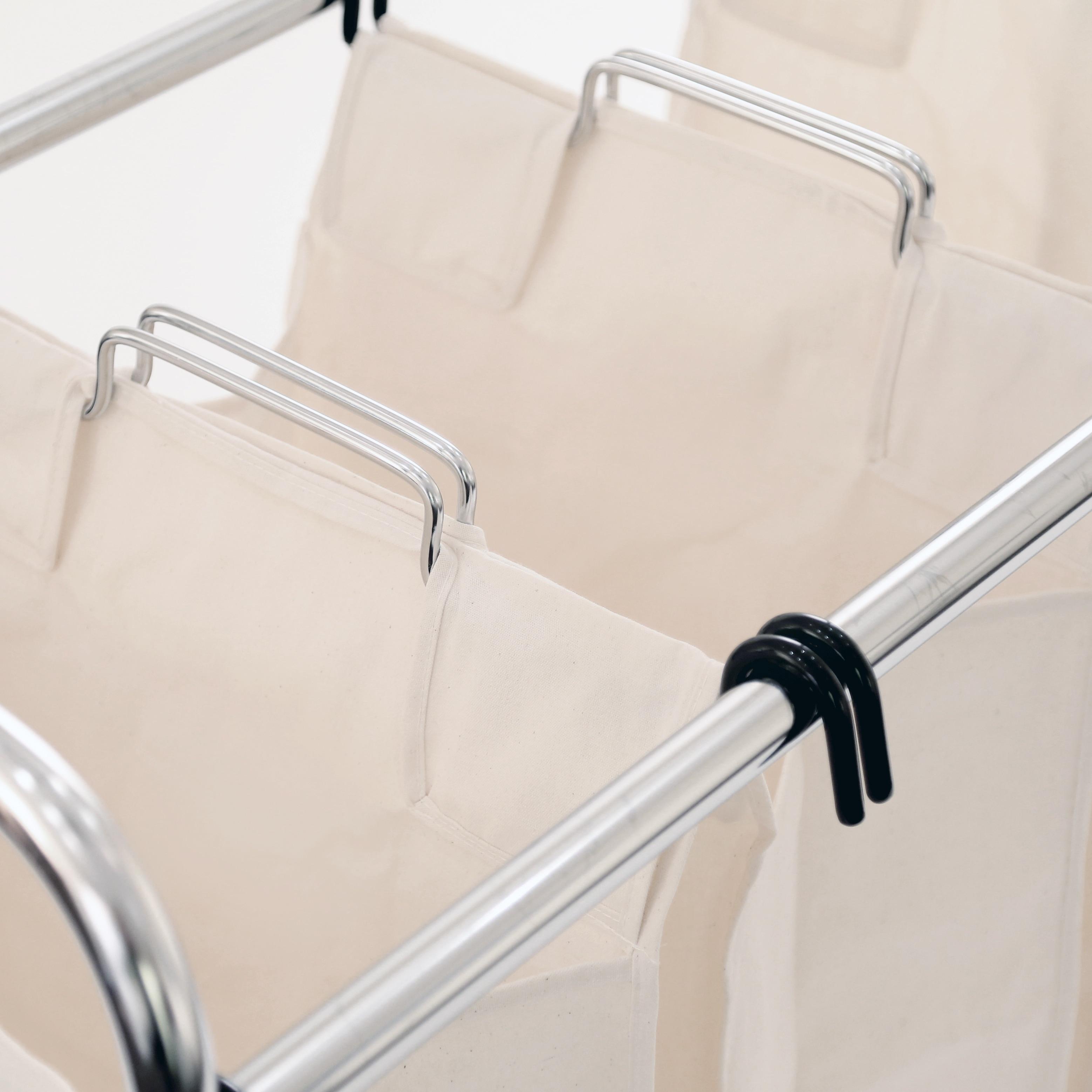 Shop 3 Bag Heavy Duty Laundry Hamper Sorter Cart With Clothes Rack
