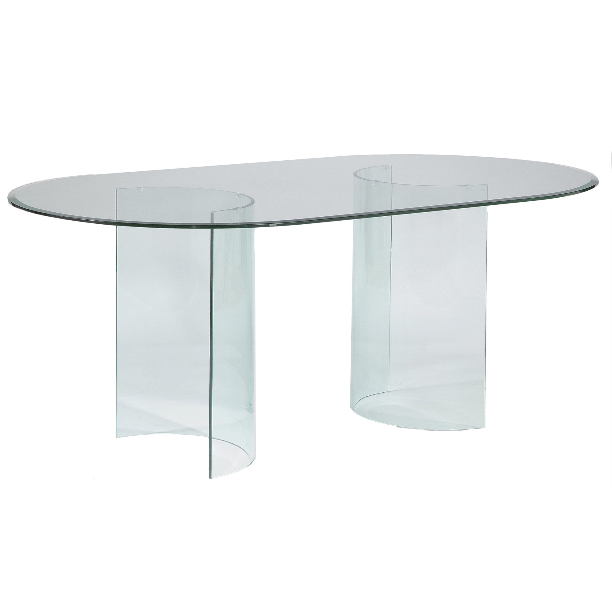Picture of: Somette Split C Racetrack 72 Inch Oval Glass Dining Table Clear Overstock 9770154