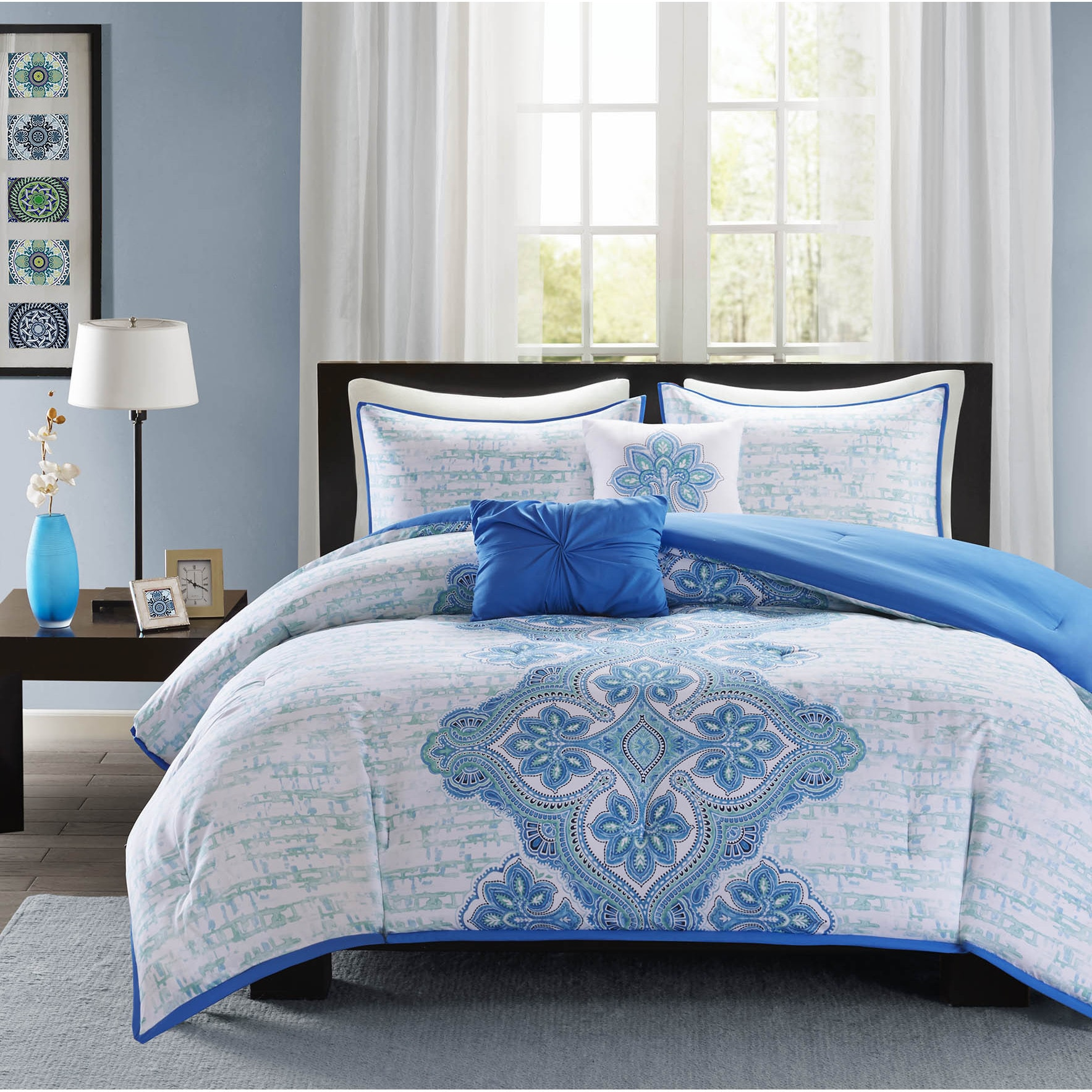 set flocking brown silky damask floral square com ip pc walmart queen comforter satin poly blue