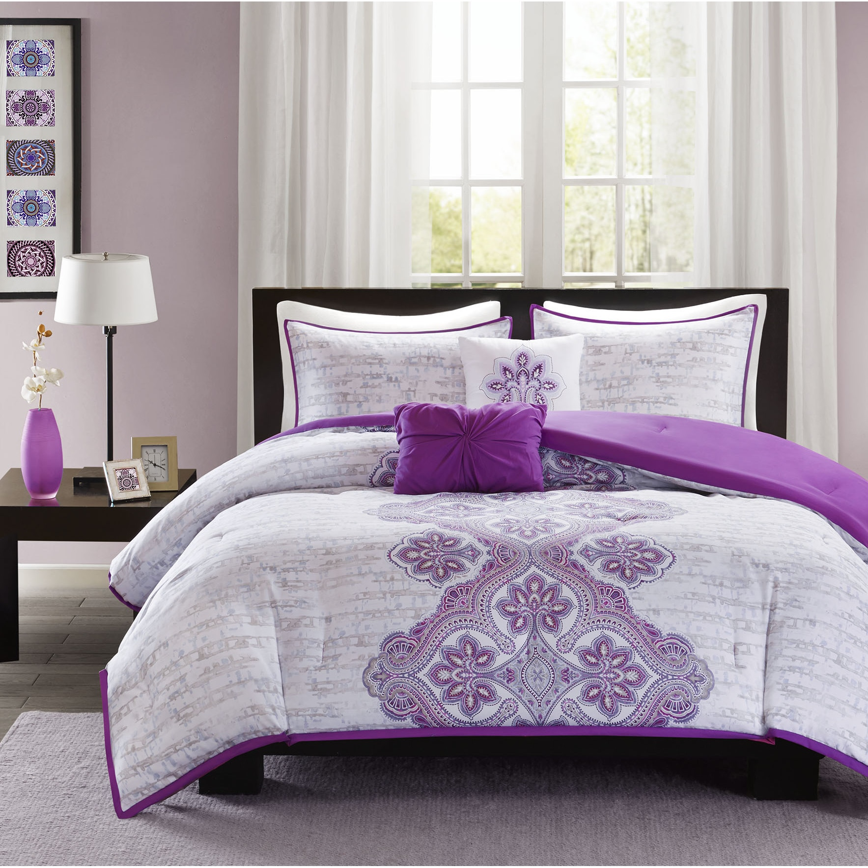 pillow purple super oversized quality top light alternative high lilac dsc comforter fits beds down