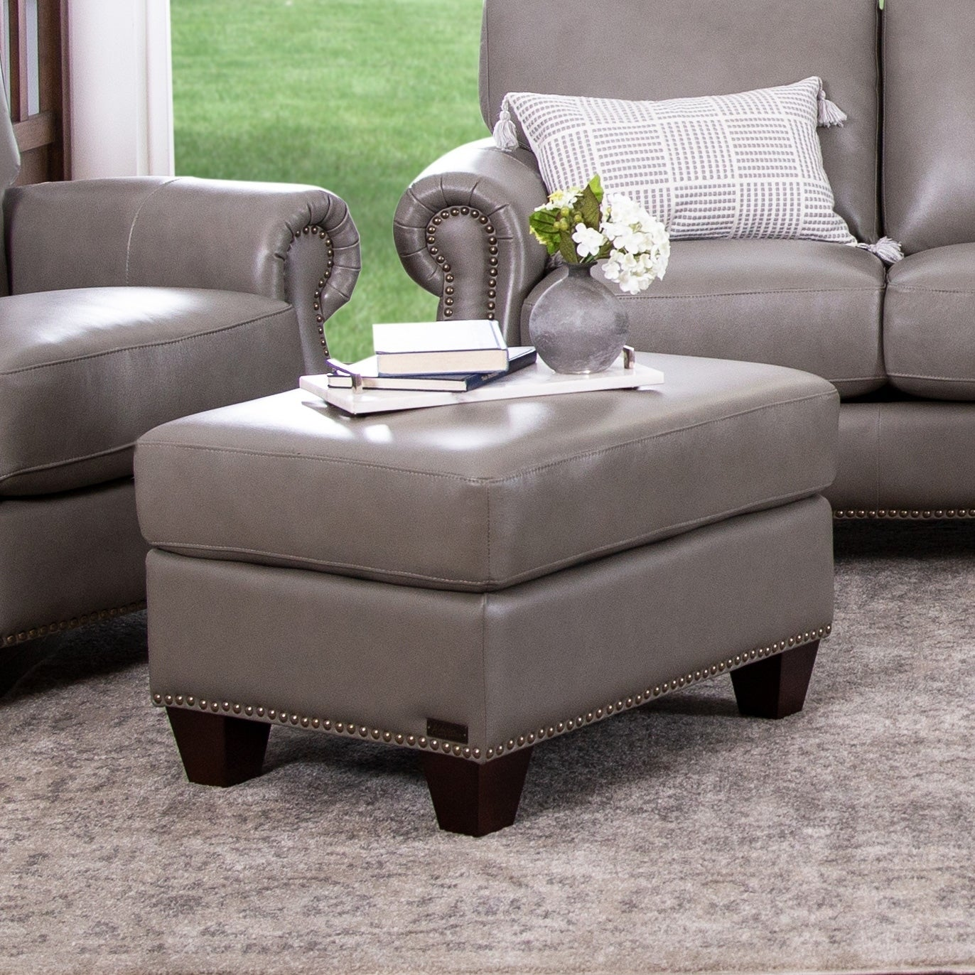 Shop abbyson landon grey top grain leather ottoman on sale free shipping today overstock com 9772548