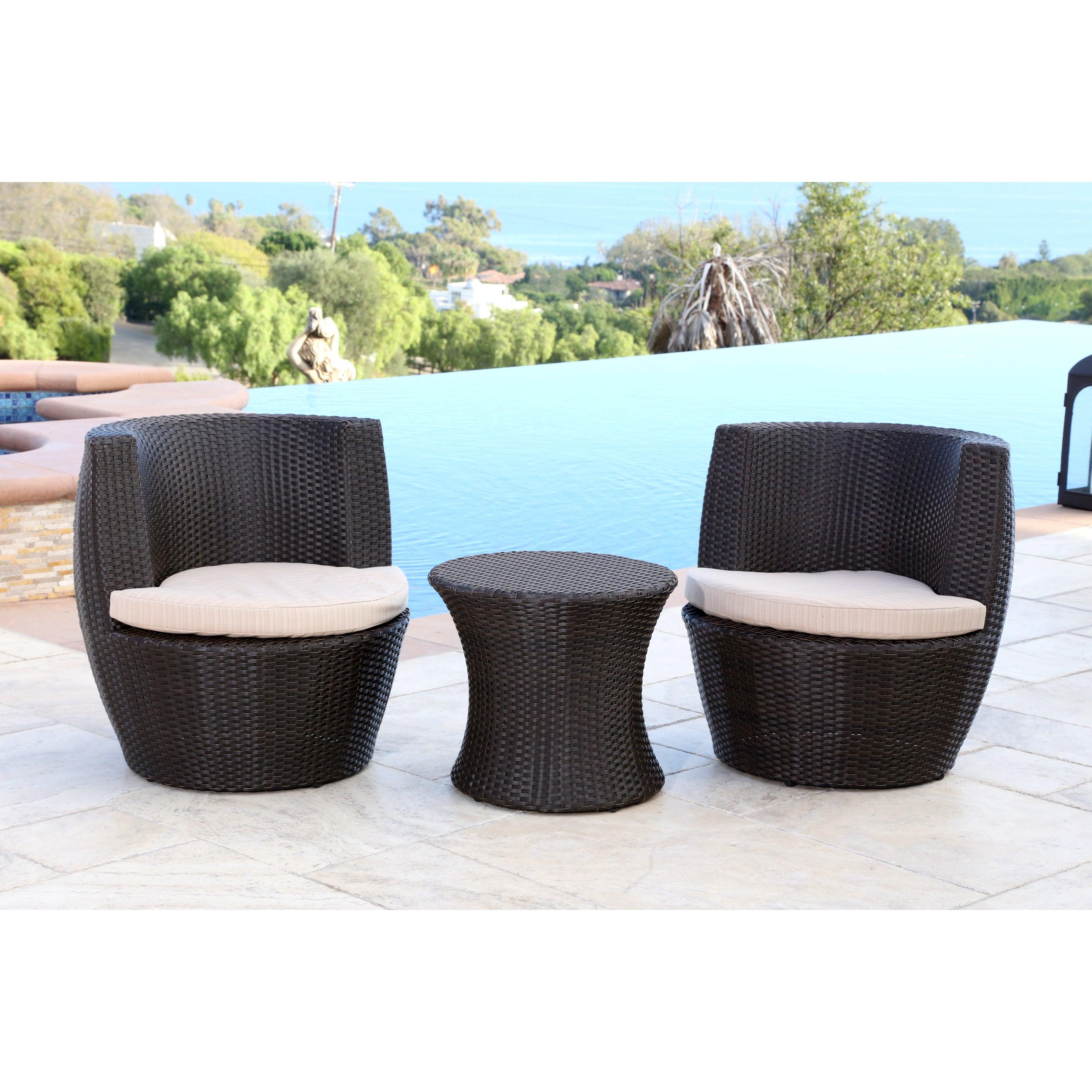 shop abbyson newport outdoor wicker 3 piece bistro set on sale rh overstock com newport outdoor furniture cushion newport outdoor chair cushions
