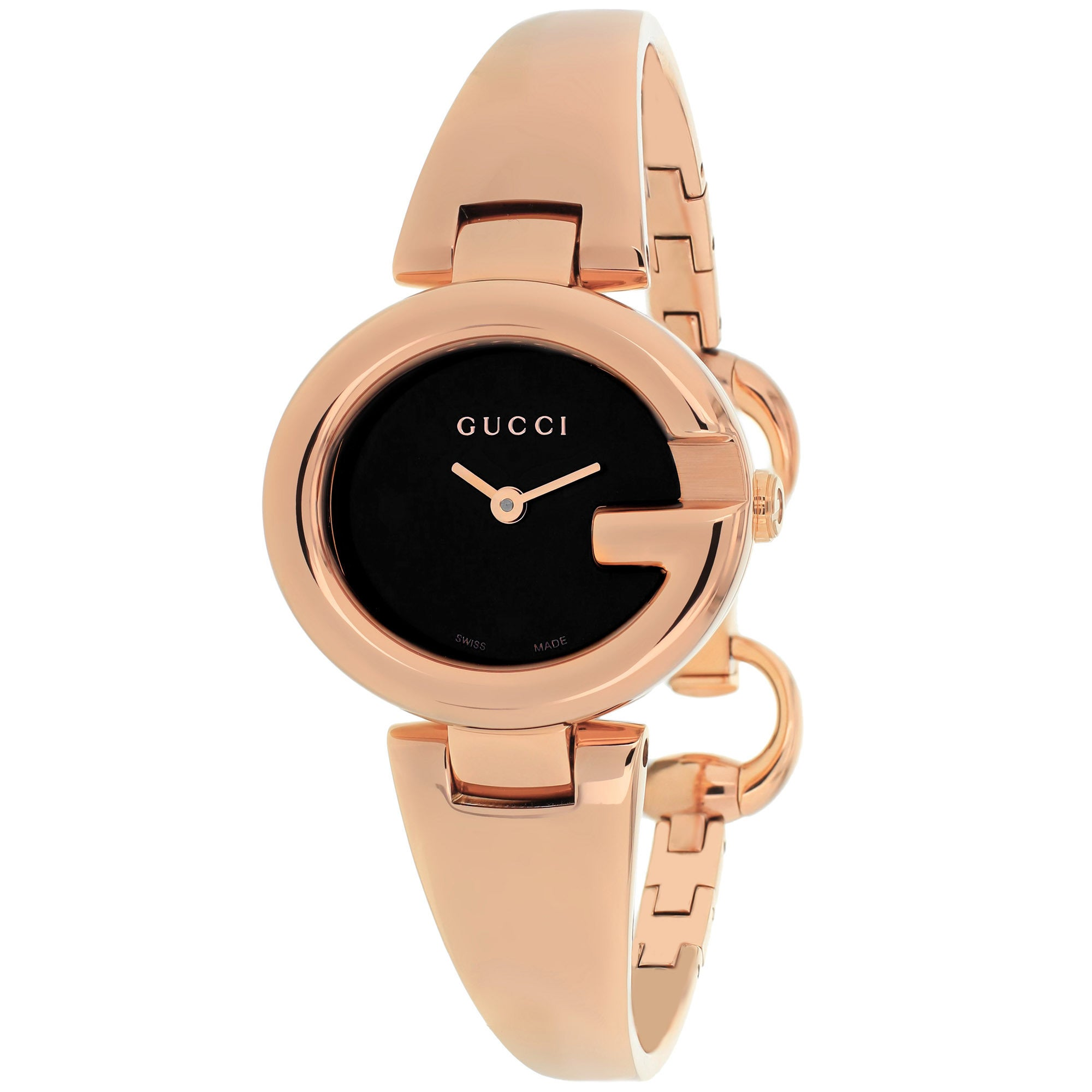 90a0ed356b0 Shop Gucci YA134509 Gucci  Guccissima  Swiss Quartz Rose Gold Stainless  Steel Bangle Watch - Free Shipping Today - Overstock - 9772562