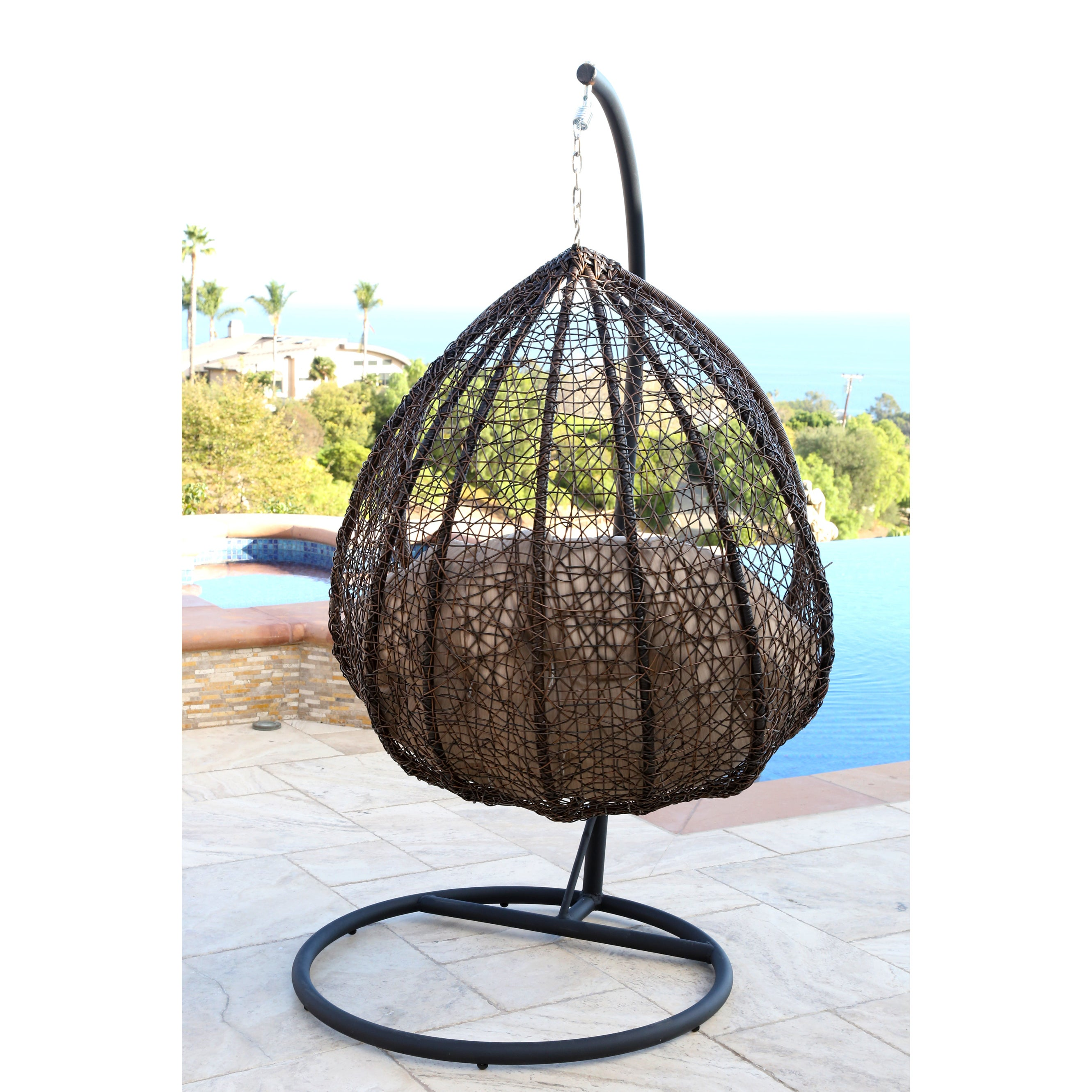 Shop Abbyson Newport Outdoor Wicker Swing Chair   On Sale   Free Shipping  Today   Overstock.com   9772574