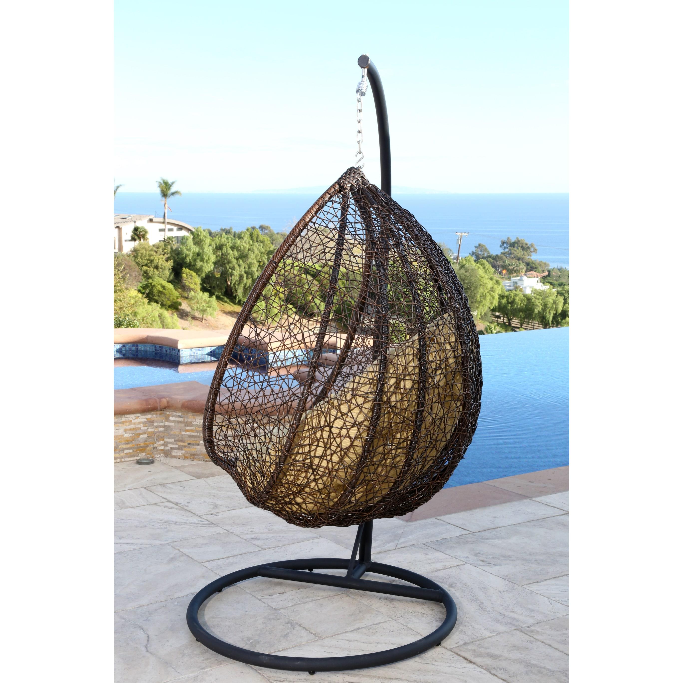 Shop Abbyson Newport Outdoor Wicker Swing Chair Free Shipping