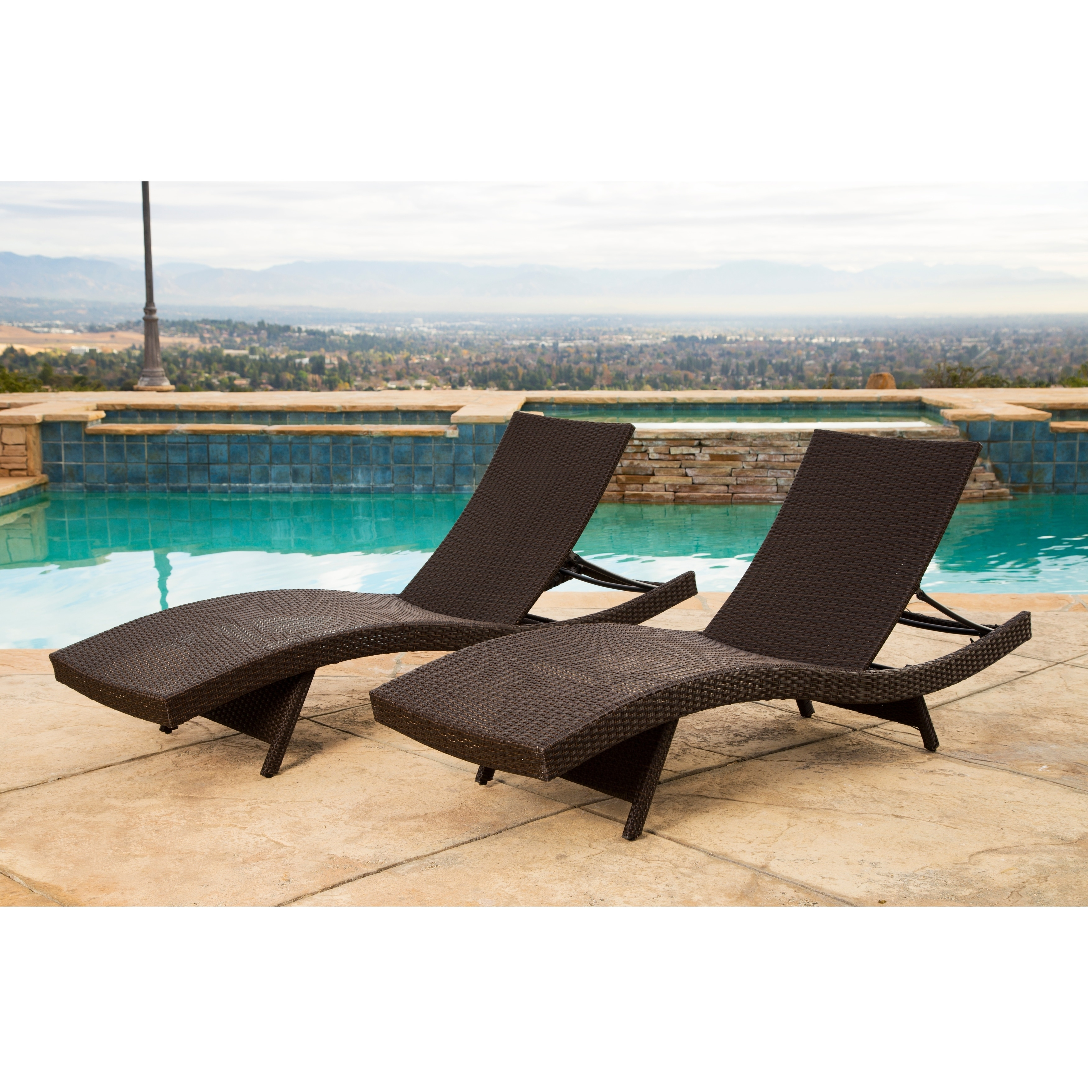 Shop Abbyson Palermo Outdoor Dark Brown Wicker Chaise Lounge Set Of