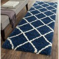 Safavieh Hudson Diamond Shag Navy/ Ivory Runner (2'3 x 8')