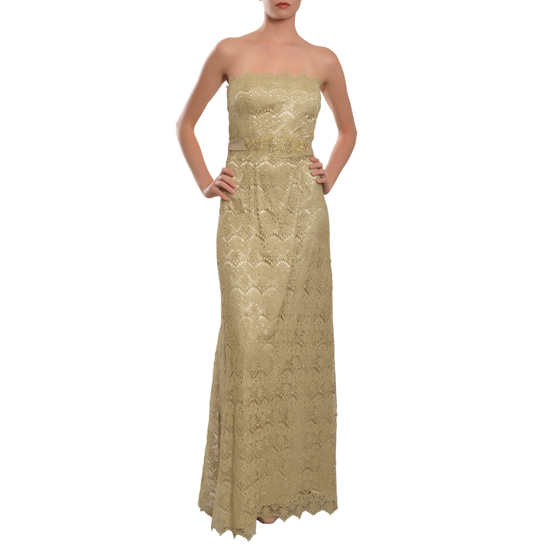 Shop Teri Jon by Rickie Freeman Strapless Metallic Gold Lace Evening ...