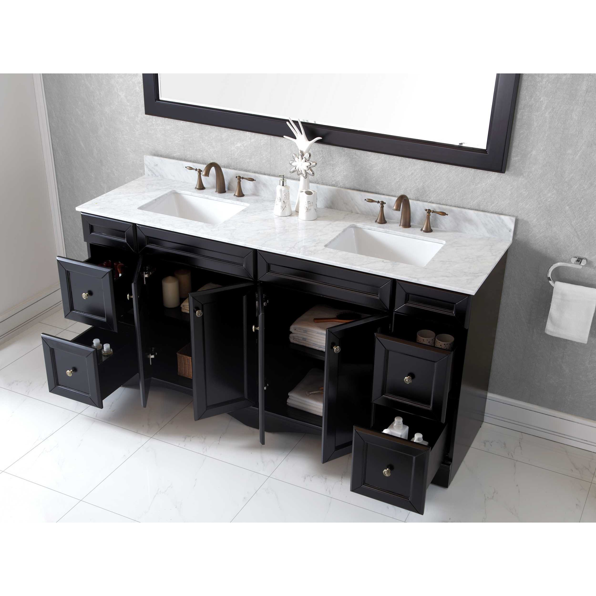 Shop Virtu USA Talisa 72-inch Square Carrara White Marble Double ...