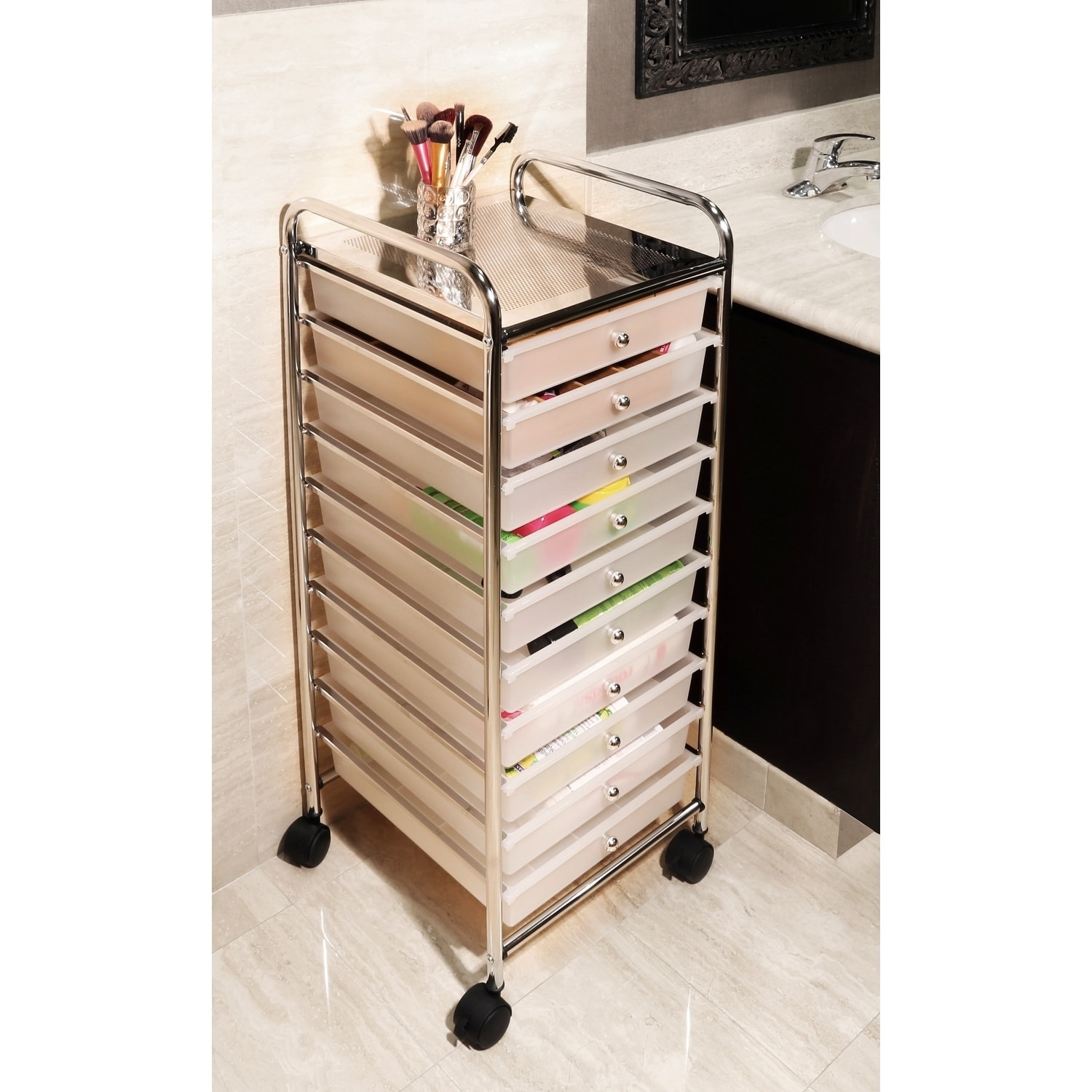 Exceptionnel Shop Seville Classics 10 Drawer Organizer Cart, Frosted White   Free  Shipping Today   Overstock.com   9779627