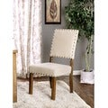 Furniture of America Veronte Ivory Linen Dining Chair (Set of 2)