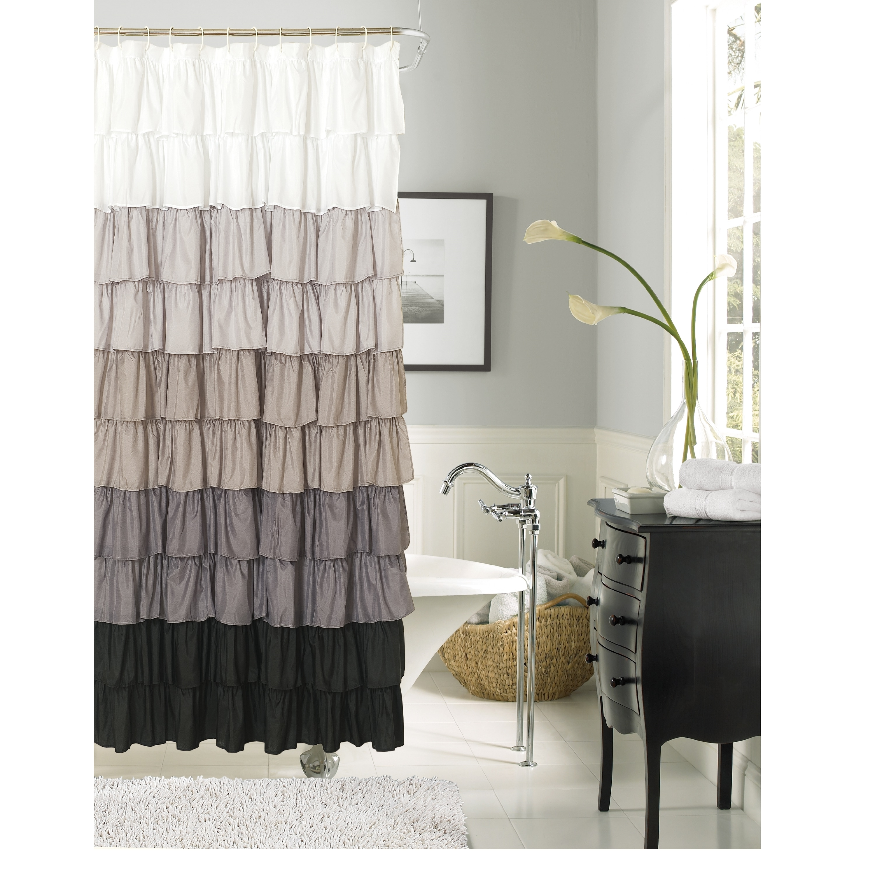 Flamenco Ruffle Shower Curtain   Free Shipping On Orders Over $45    Overstock   16950953