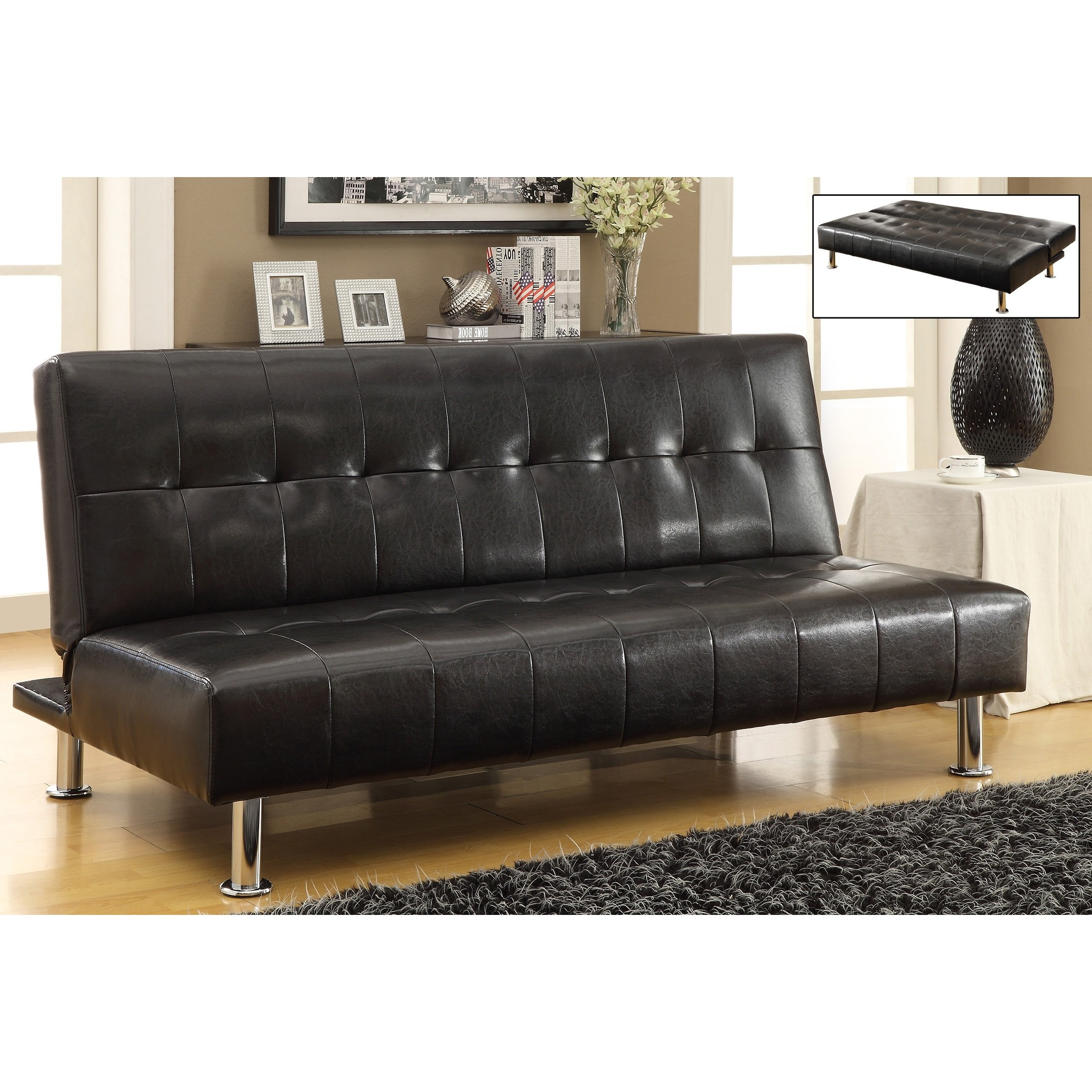 Loft Faux Leather Futon Free Shipping Today Overstock