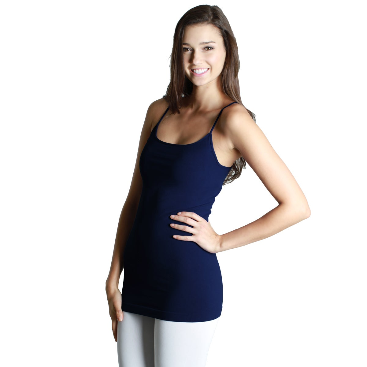 ea5ae8fbd0474 Shop Nikibiki Women s Model NS4011 Nylon and Spandex Seamless Signature  Long Camisole Top - Free Shipping On Orders Over  45 - Overstock - 9787126
