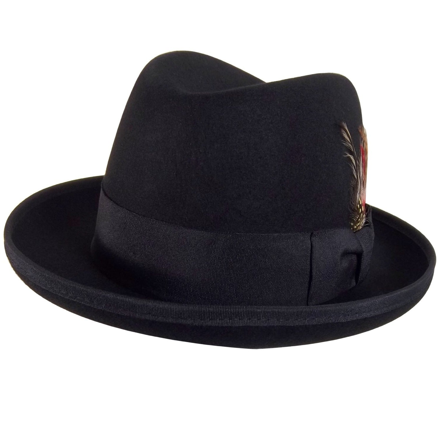 426eda8e6b Godfather Gangster Feather Black Fedora Hat