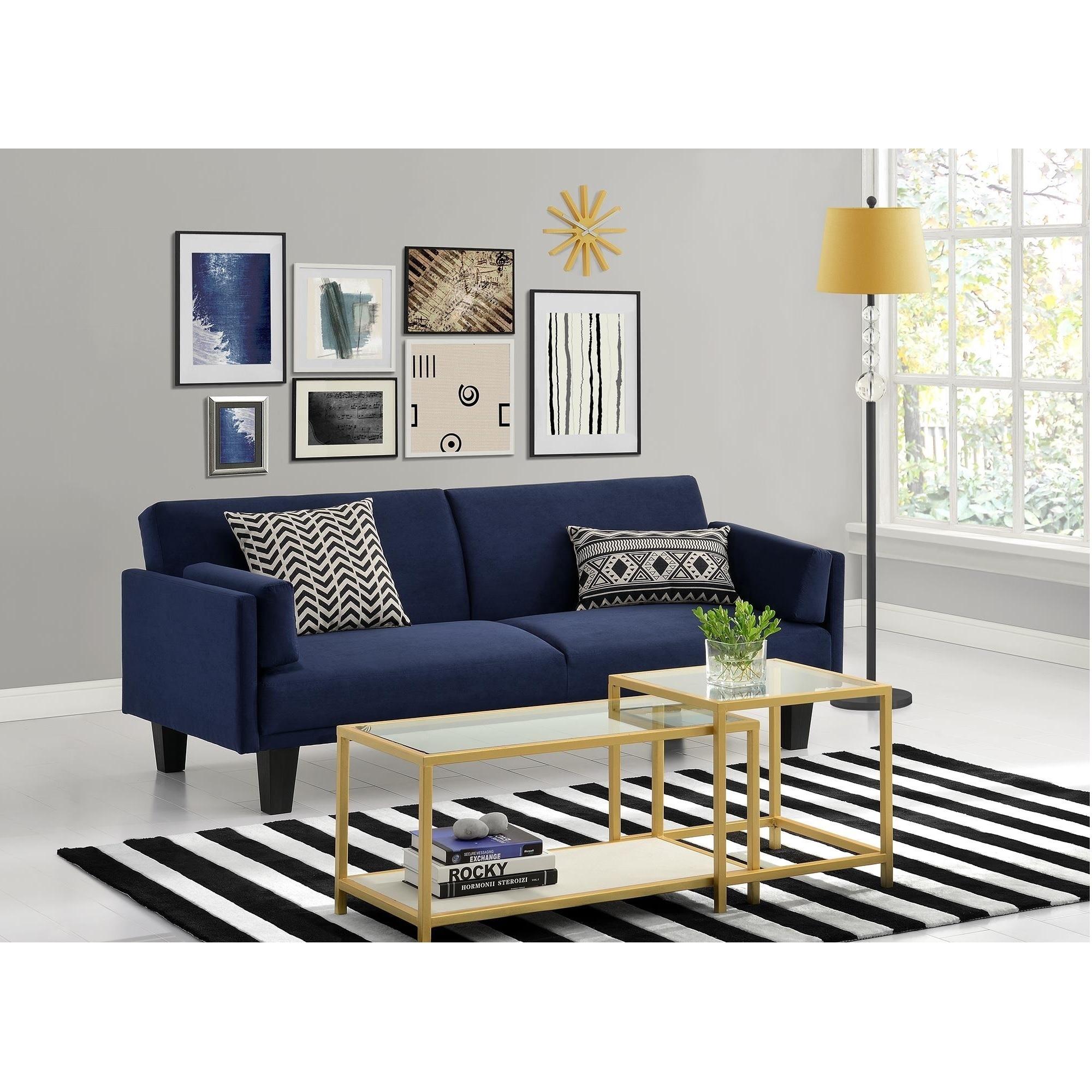 Shop Dhp Metro Navy Blue Futon Sofa Bed Free Shipping Today
