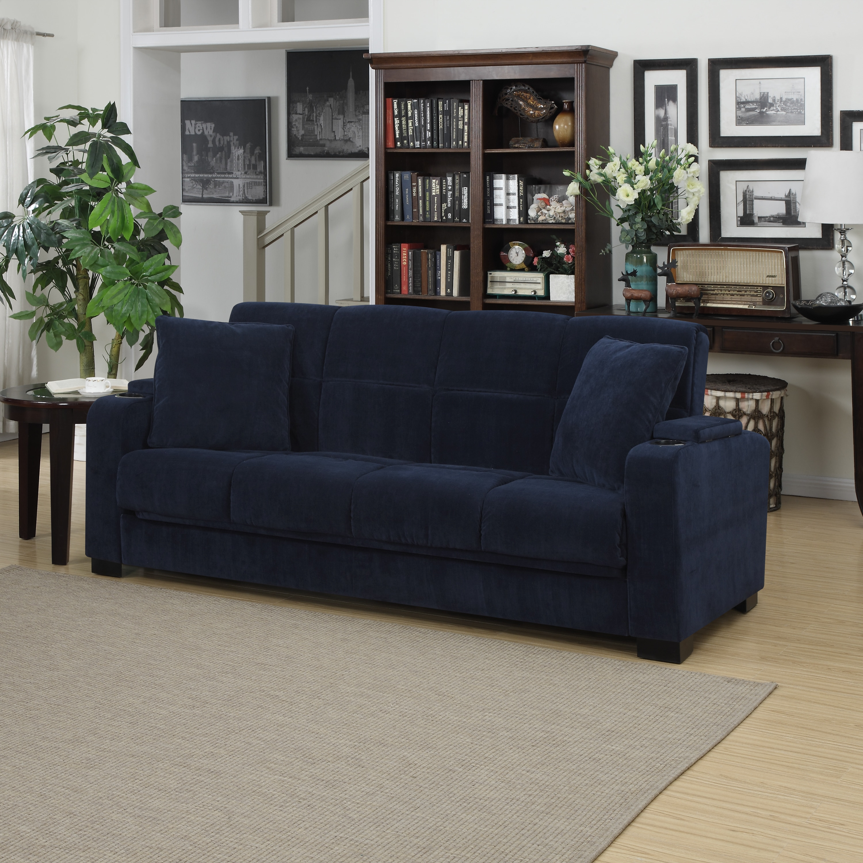 Handy Living Tevin Navy Blue Velvet Convert A Couch Storage Arm Futon Sofa On Free Shipping Today Com 20603147