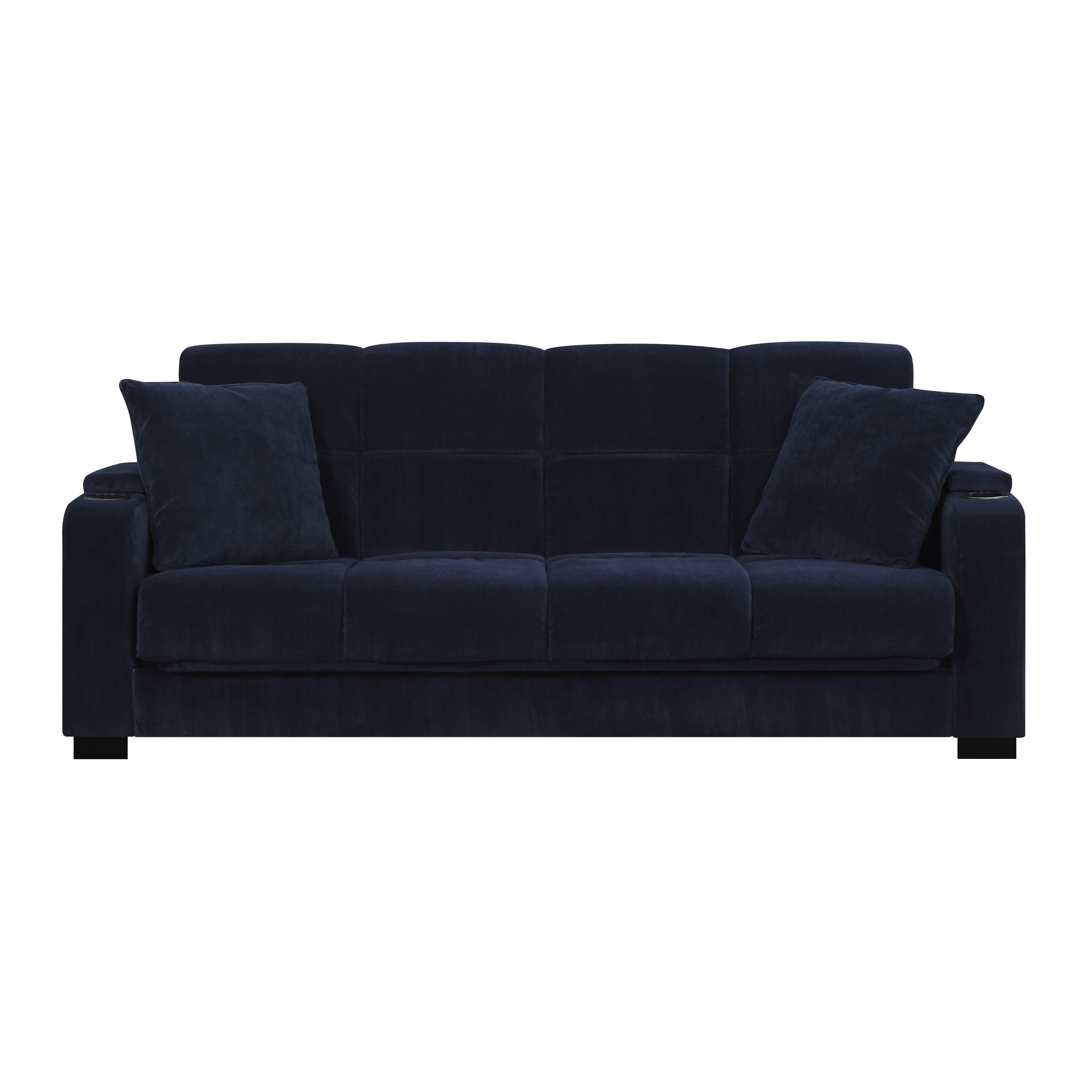 Shop Portfolio Tevin Navy Blue Velvet Convert A Couch Storage Arm Futon Sofa Sleeper On Sale Free Shipping Today Overstock 20603147