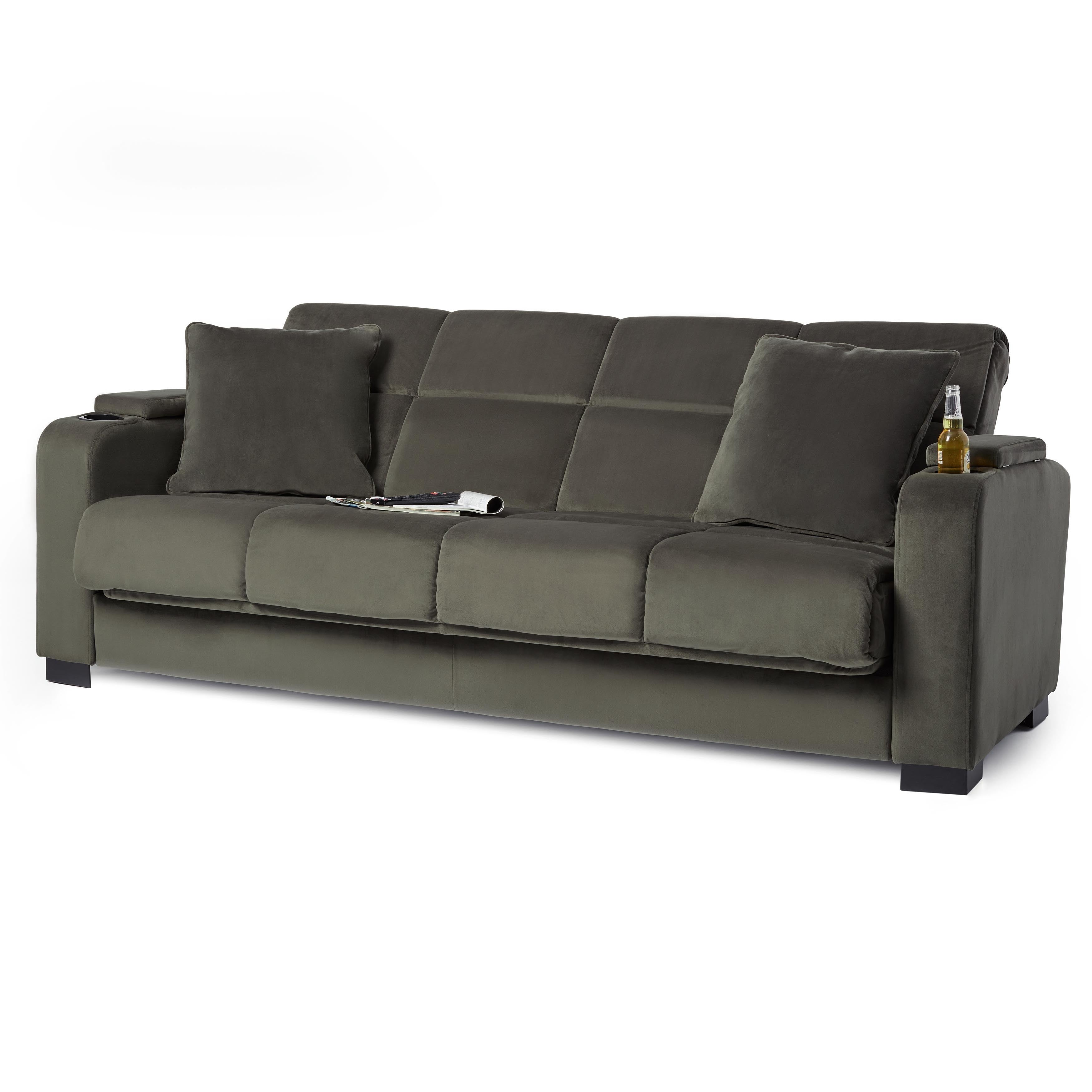 Shop Copper Grove Jessie Grey Velvet Convert-a-Couch Futon Sofa ...