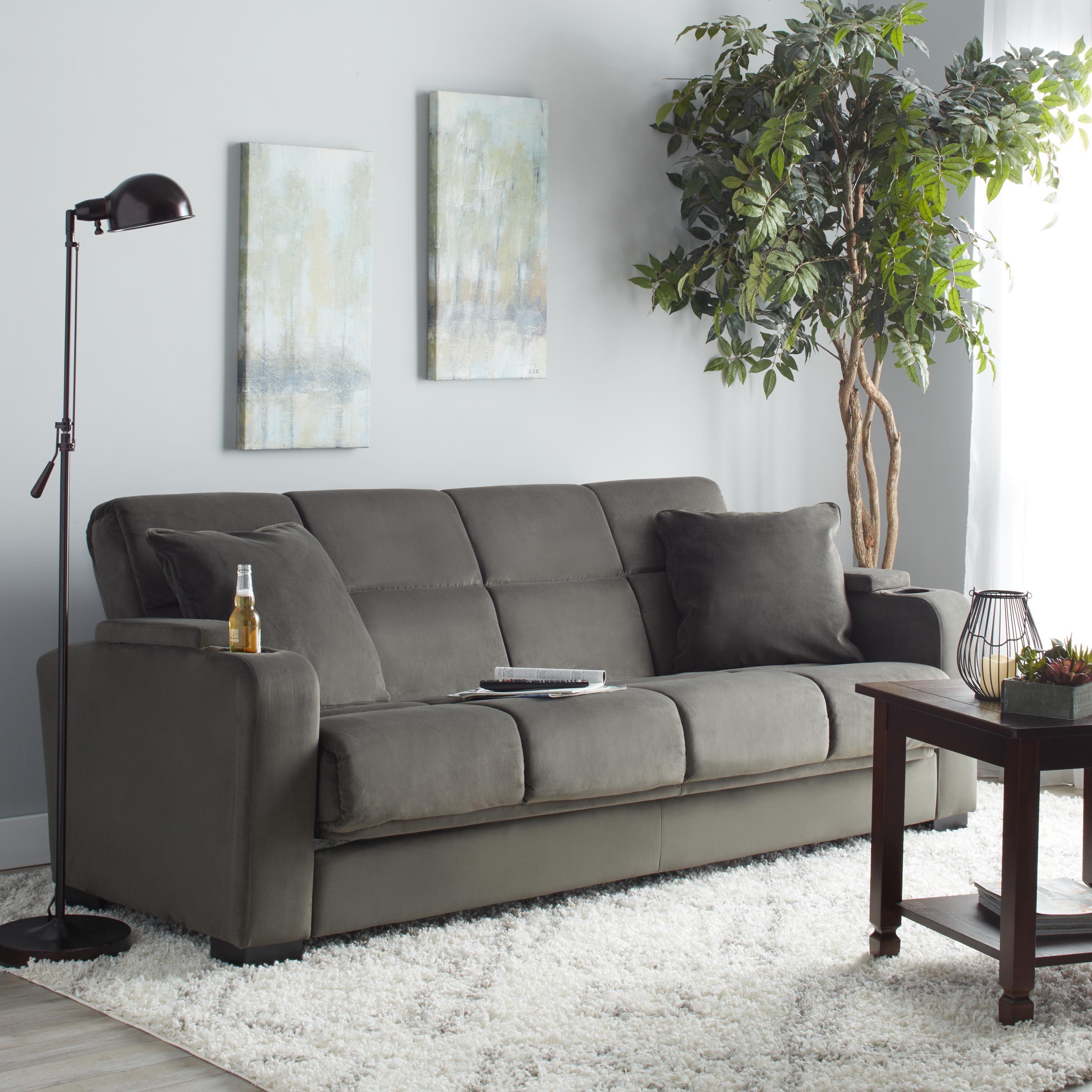Clay Alder Home Klingle Grey Velvet Convert A Couch Futon Sofa Sleeper On Free Shipping Today 20254905