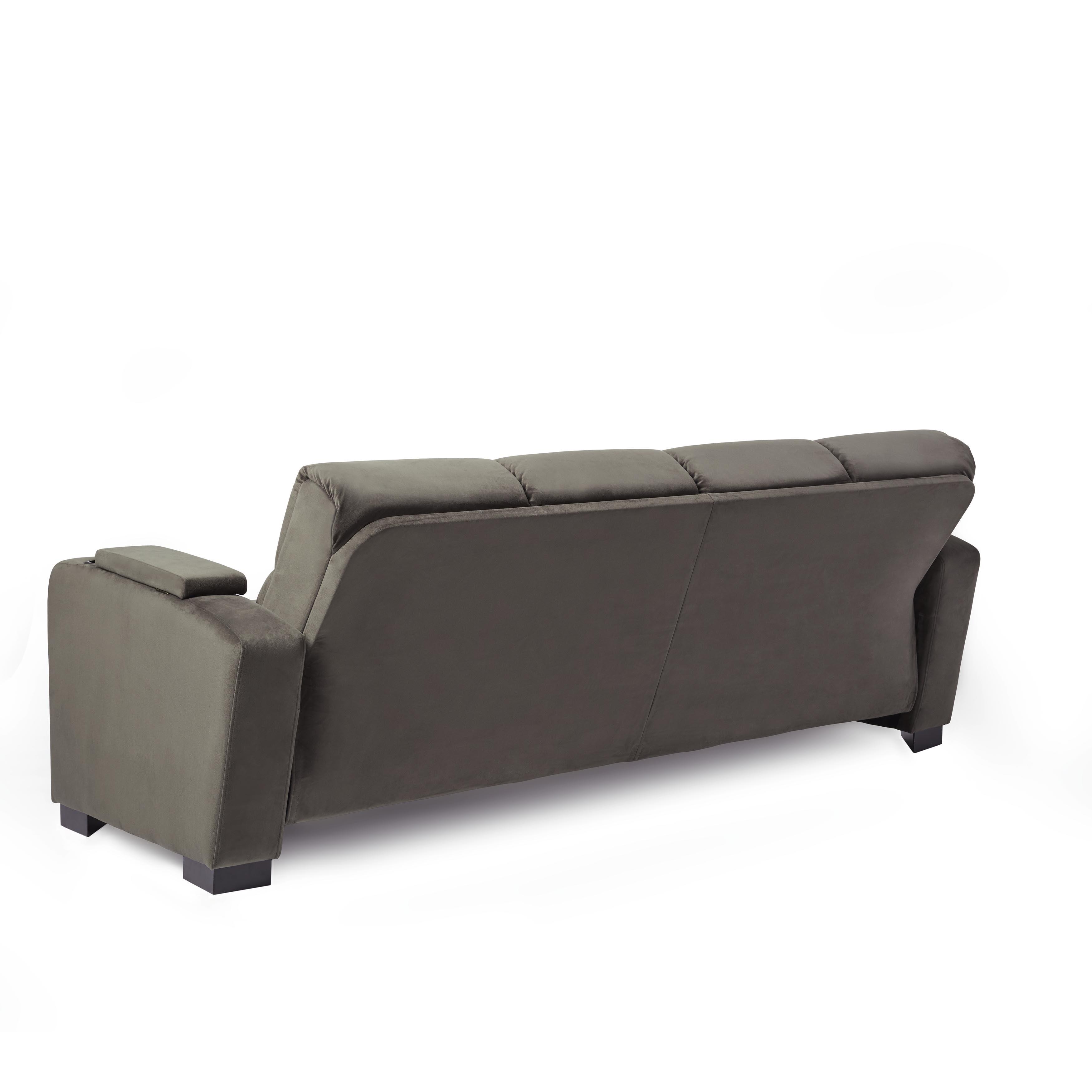 Handy Living Tevin Grey Velvet Convert a Couch Futon Sofa Sleeper
