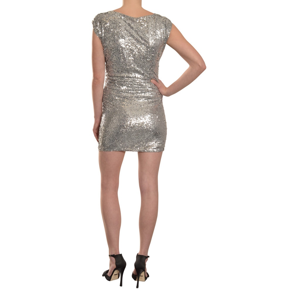 e5473ae78bb Shop Alice + Olivia Silver Sequin Marina Dolman Sleeve Cocktail Dress -  Free Shipping Today - Overstock - 9796932