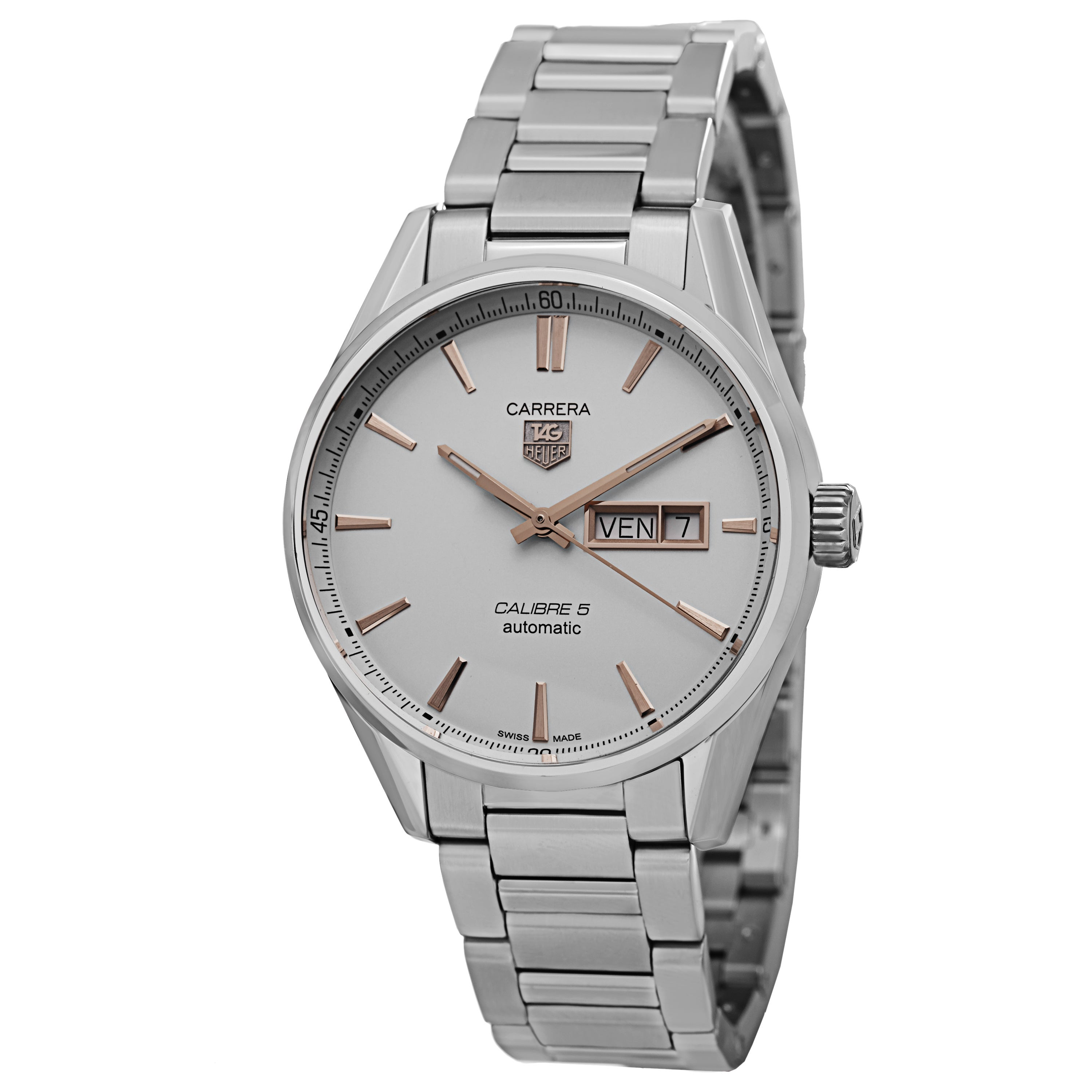 new style 213f2 e538a Tag Heuer Men's WAR201D.BA0723 'Carrera' Silver Dial Stainless Steel  Bracelet Automatic Watch