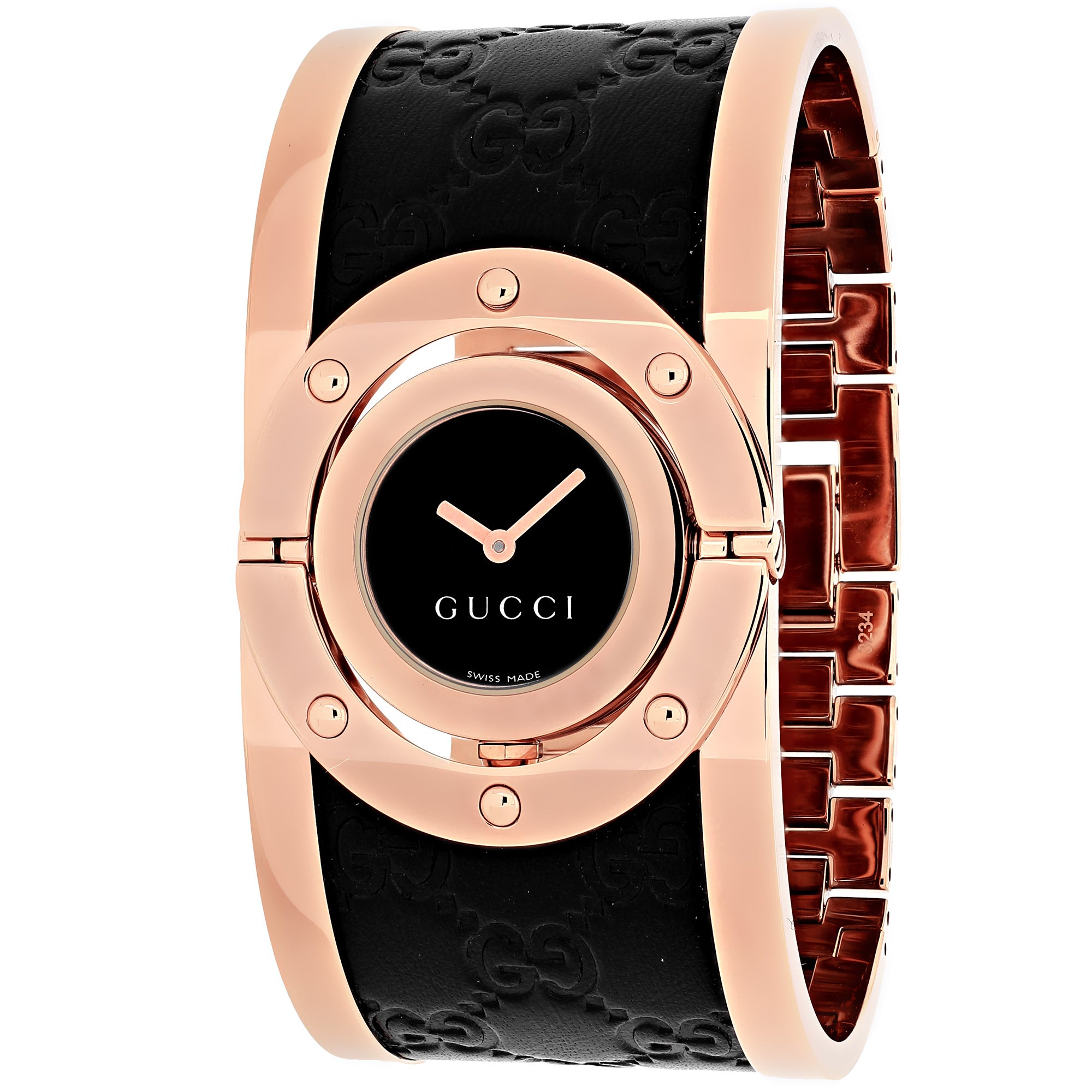 fe206607e11 Shop Gucci Women s Quartz Twirl Rose Goldtone Guccissima Leather Watch -  Free Shipping Today - Overstock - 9804249