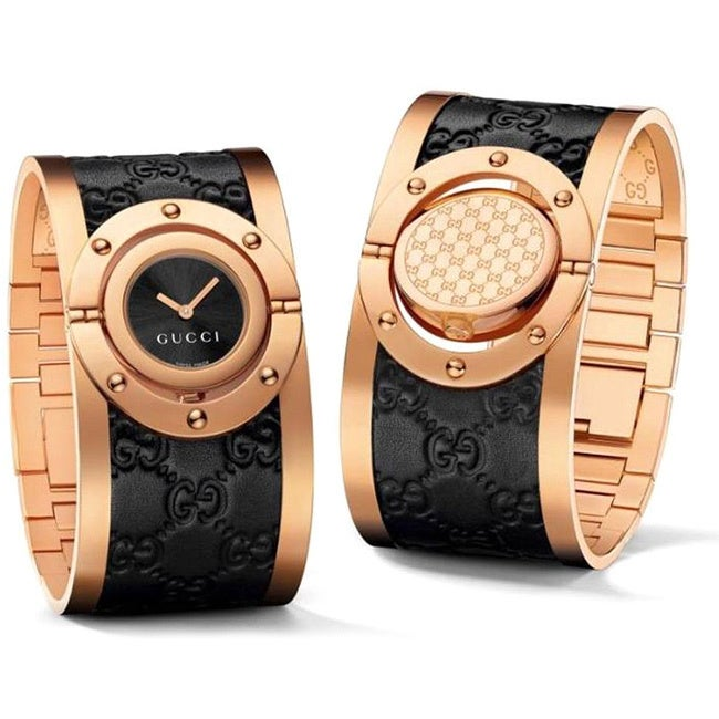 f38ae069782 Shop Gucci Women s Quartz Twirl Rose Goldtone Guccissima Leather Watch -  Ships To Canada - Overstock - 9804249