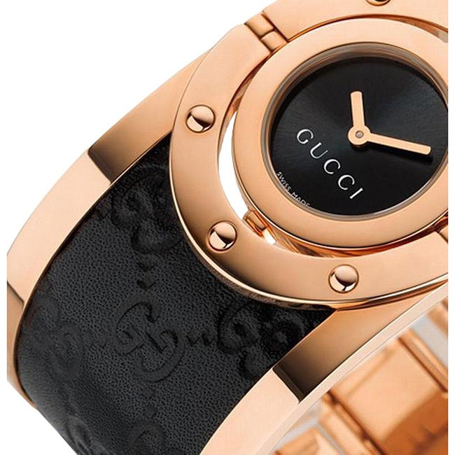 b69144bc030 Shop Gucci Women s Quartz Twirl Rose Goldtone Guccissima Leather Watch -  Free Shipping Today - Overstock - 9804249