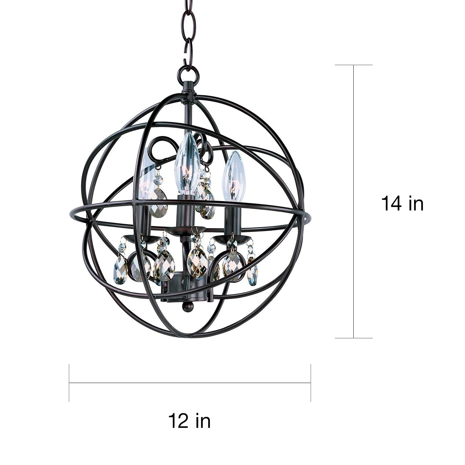 Maxim 3 light Bronze Orbit Single Tier Chandelier Free Shipping