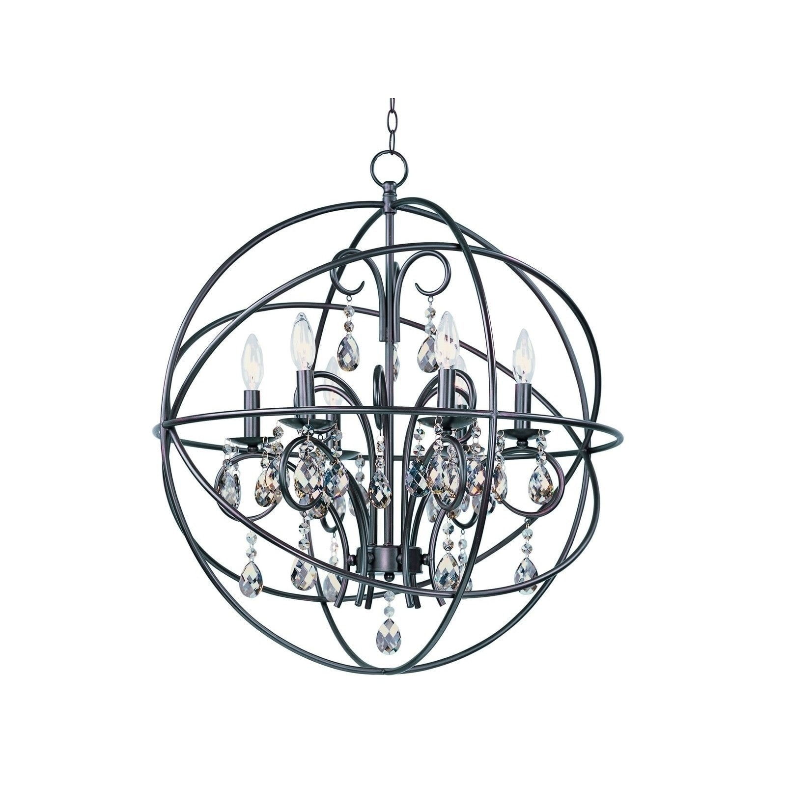 Maxim 6 light Bronze Orbit Single Tier Chandelier Free Shipping