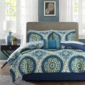 Madison Park Essentials Odisha Blue Complete Comforter and Cotton Sheet Set