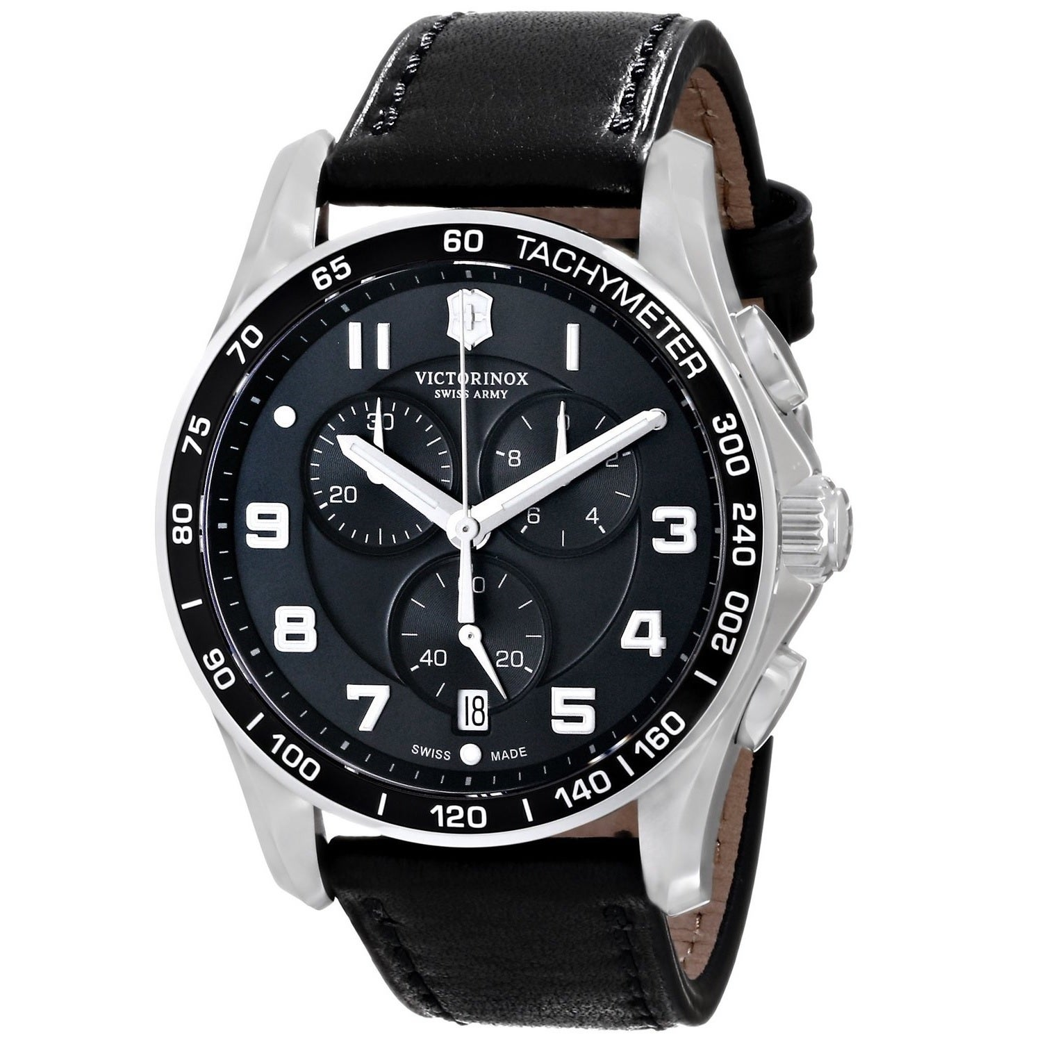 Victorinox Swiss Army Men S 241651 Infantry Classic Chronograph Black Leather Watch
