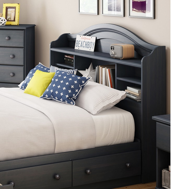 South S Summer Breeze Blueberry Full Bookcase Headboard