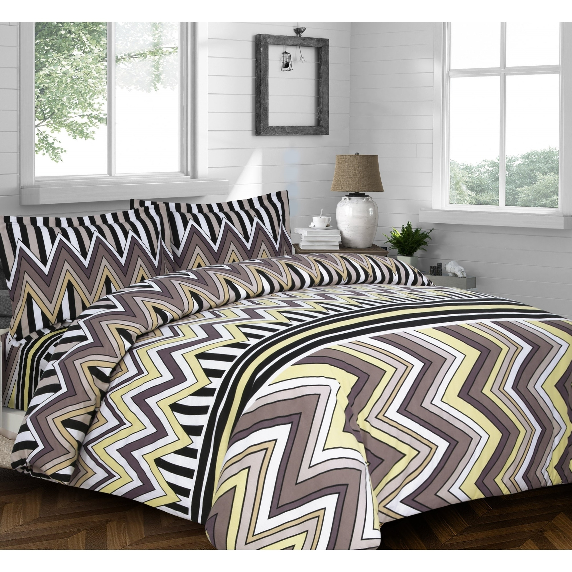 Shop Chevron Stripe Printed Flannel 3 Piece Duvet Cover Set On